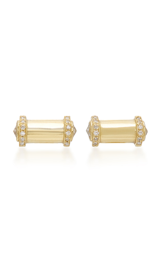 COLETTE JEWELRY   Colette Jewelry Bullet 18K Gold And Diamond Earrings   Goxip