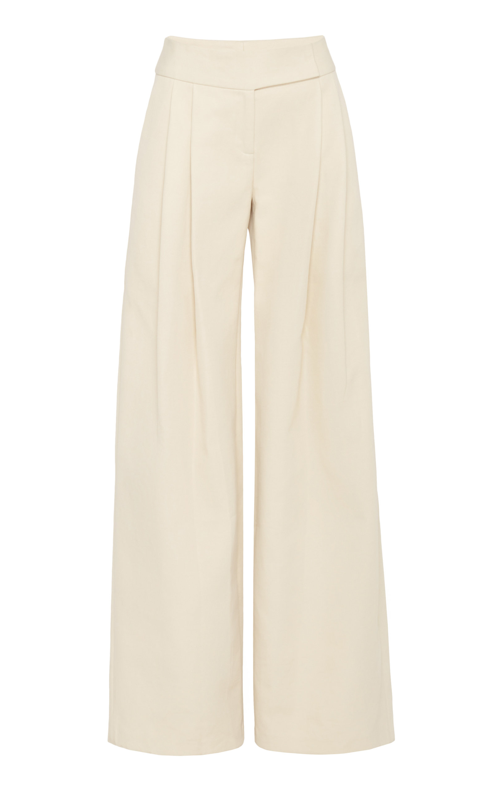 MARINA MOSCONE WIDE LEG COTTON BLEND TROUSERS