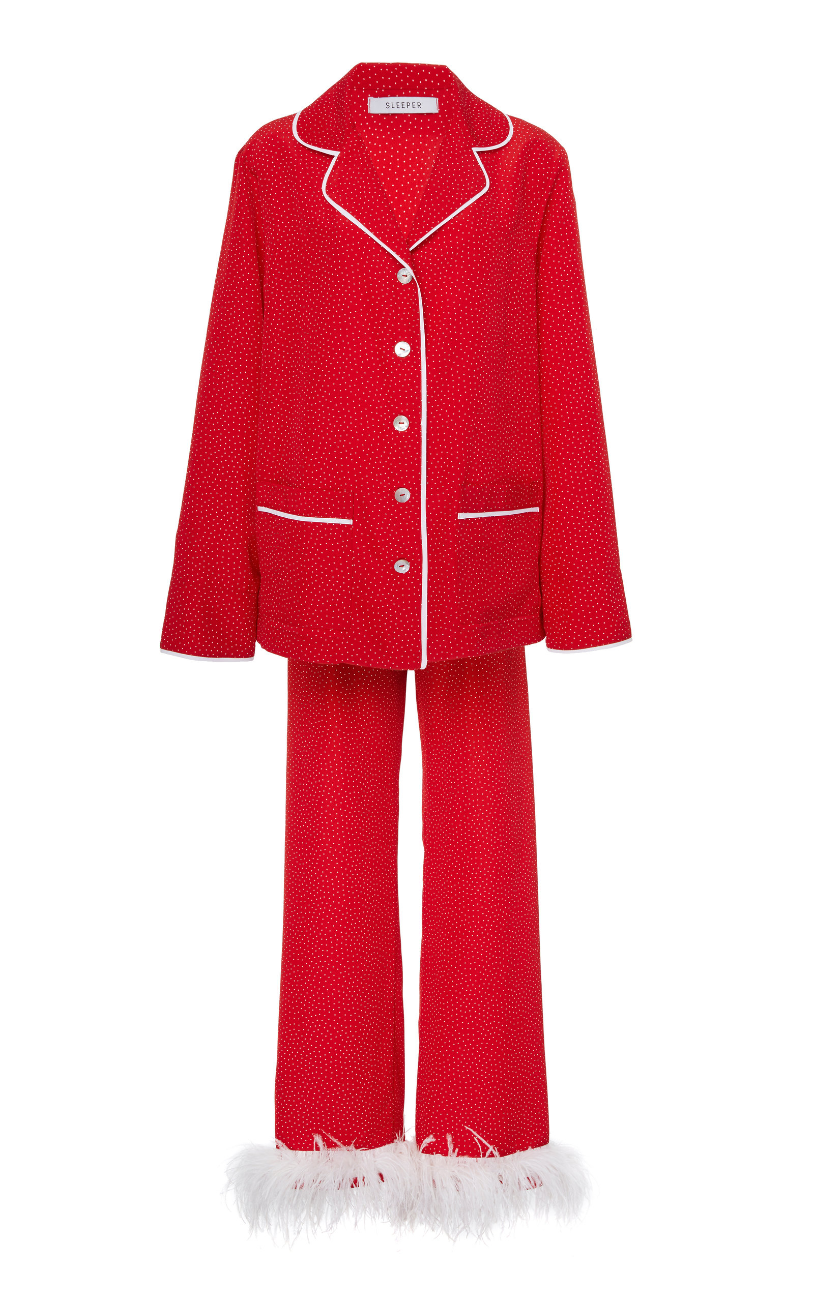 SLEEPER Ostrich Feather-Trimmed Satin Pajama Set in Red