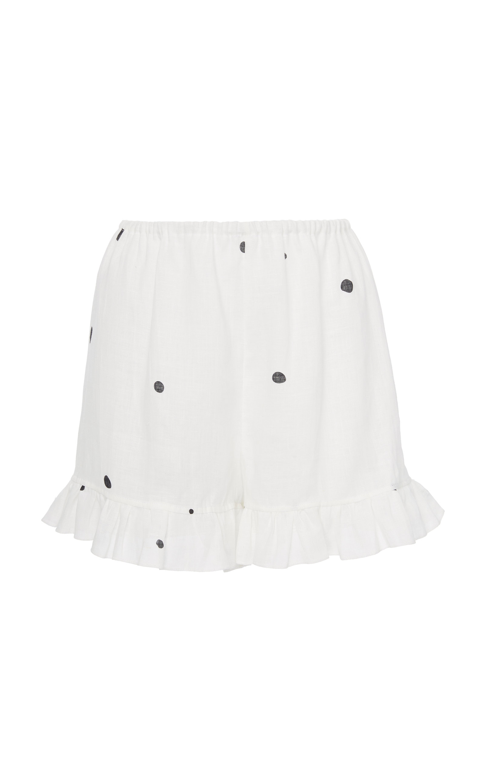SLEEPER Ruffled High-Rise Linen Lounge Shorts in White