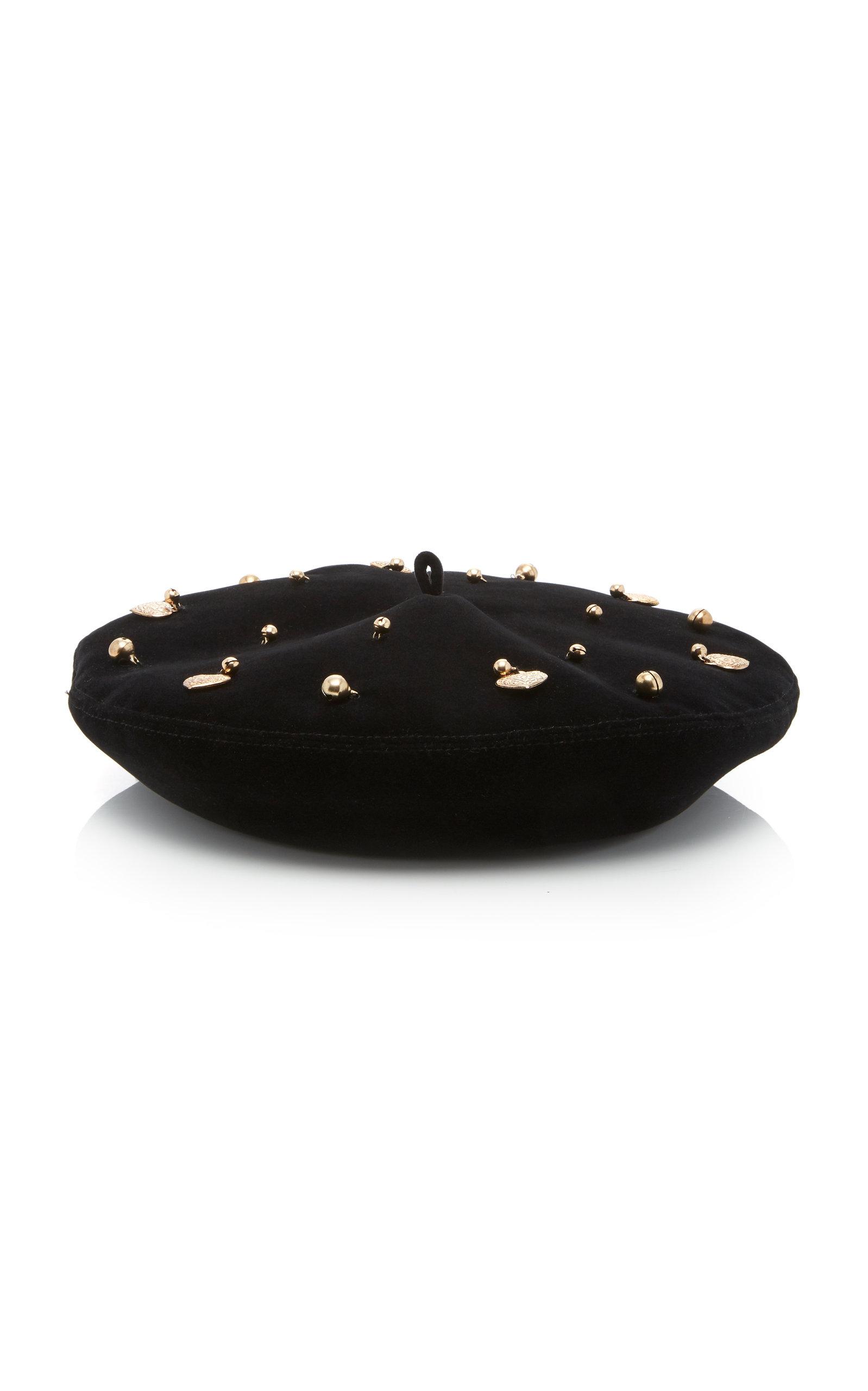 Eric Javits Arrive Embellished Velvet Beret In Black  90d2fa74110