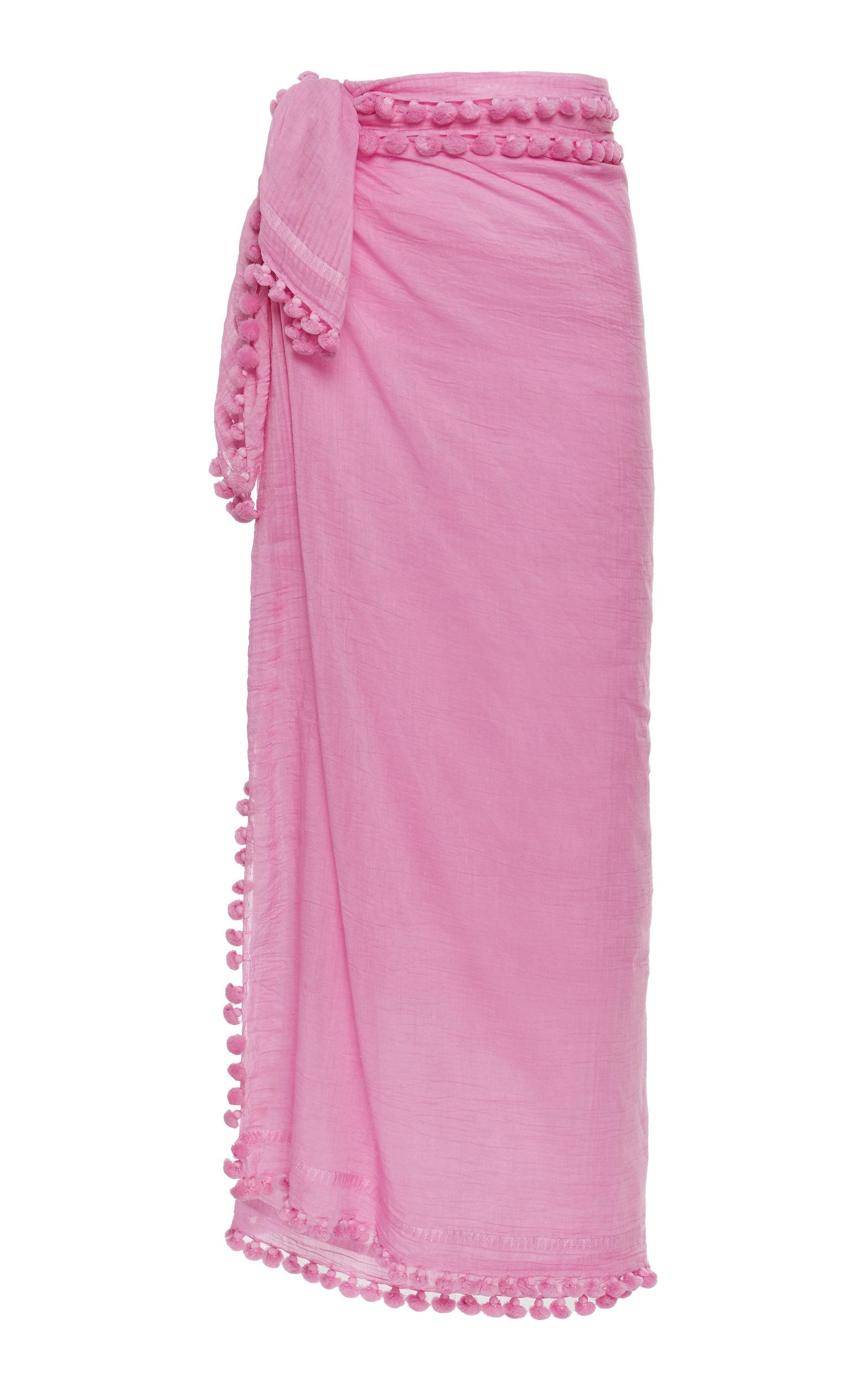 MATTA Dupatta Tasseled Cotton And Silk Shawl in Pink