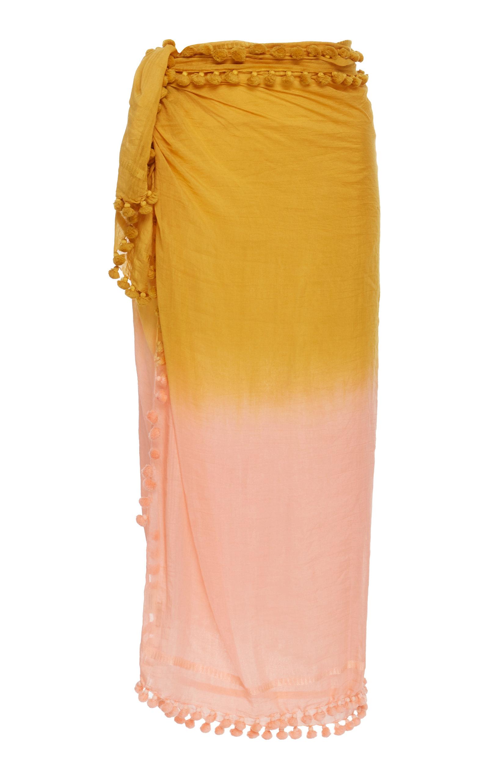 MATTA Dupatta Ombré Cotton And Silk Shawl in Yellow