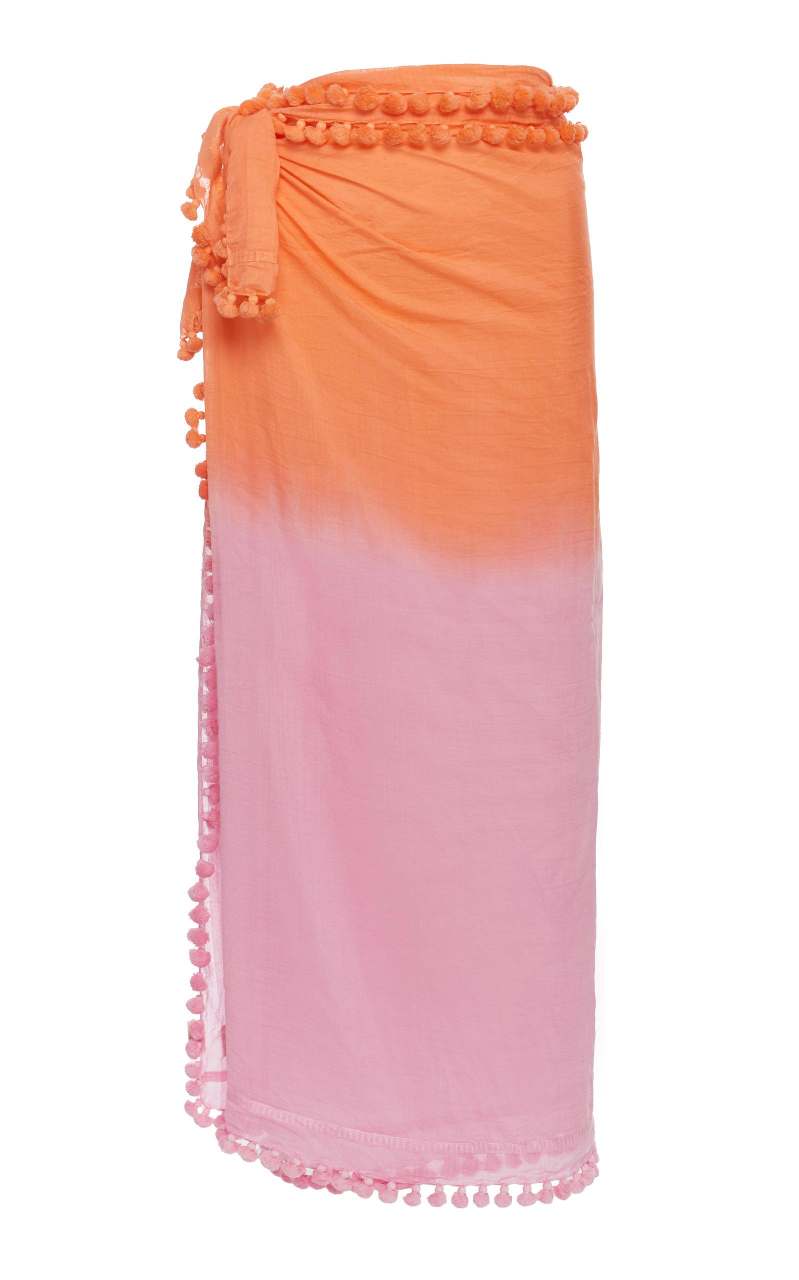 MATTA Dupatta Ombré Cotton And Silk Shawl in Orange