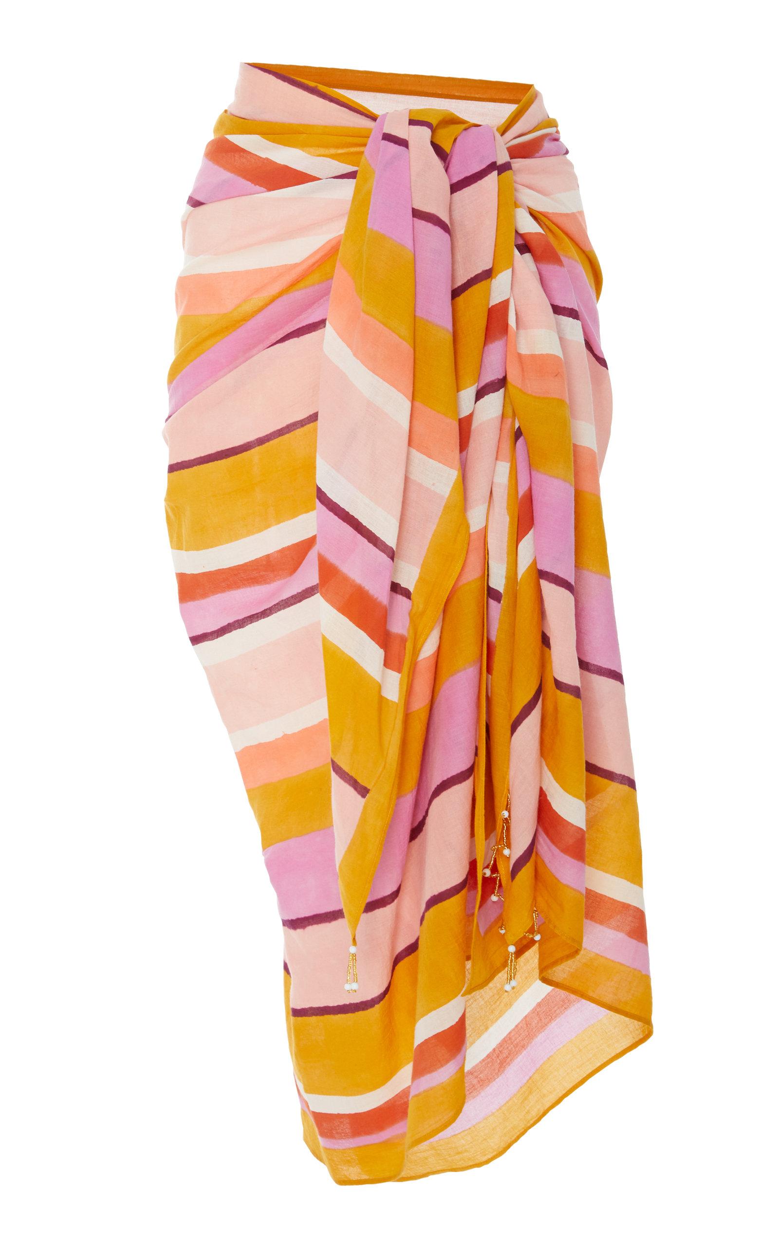 MATTA Striped Cotton-Voile Sarong in Multi
