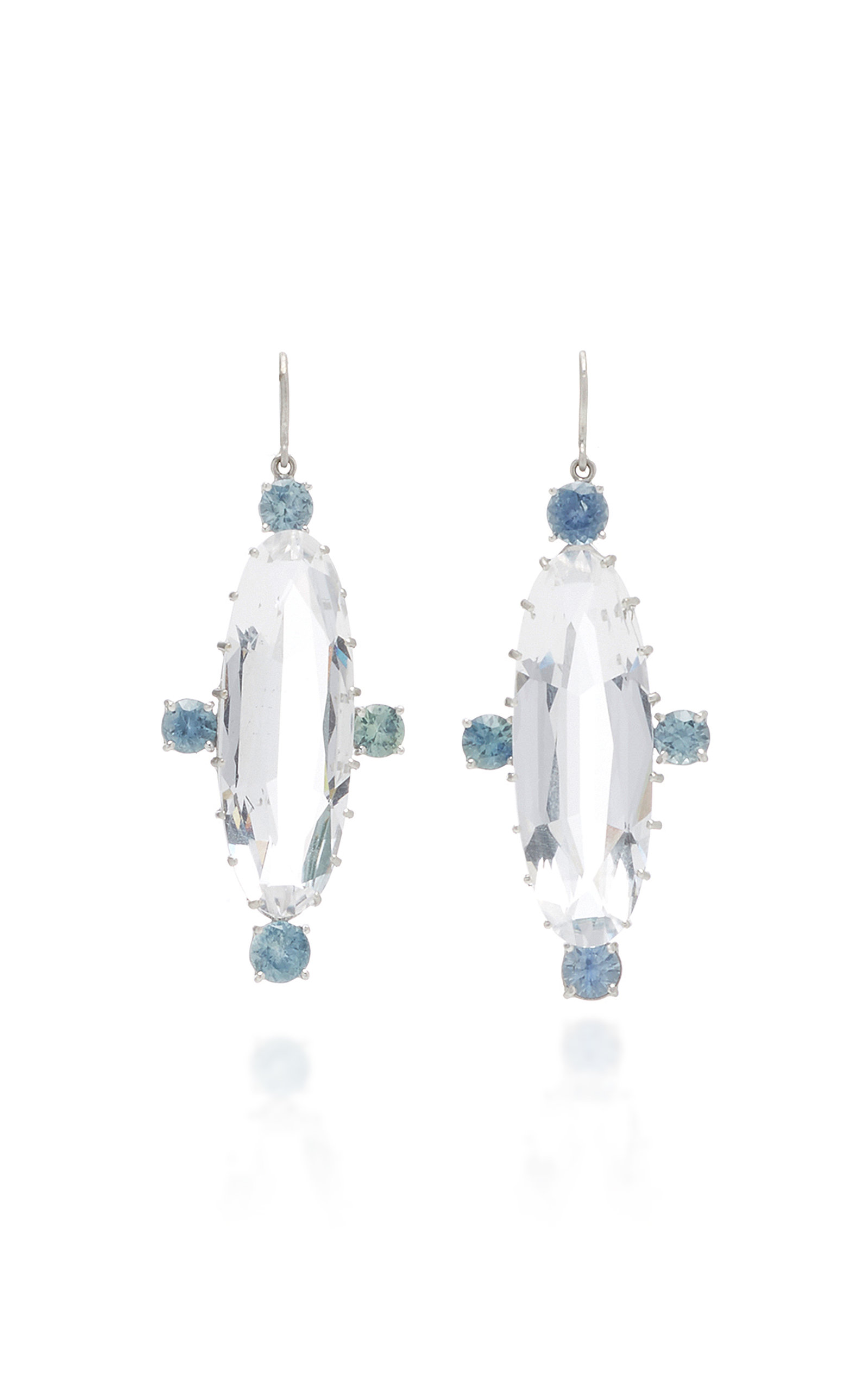 SYLVA & CIE ONE-OF-A-KIND CRYSTAL AND SAPPHIRE EARRINGS