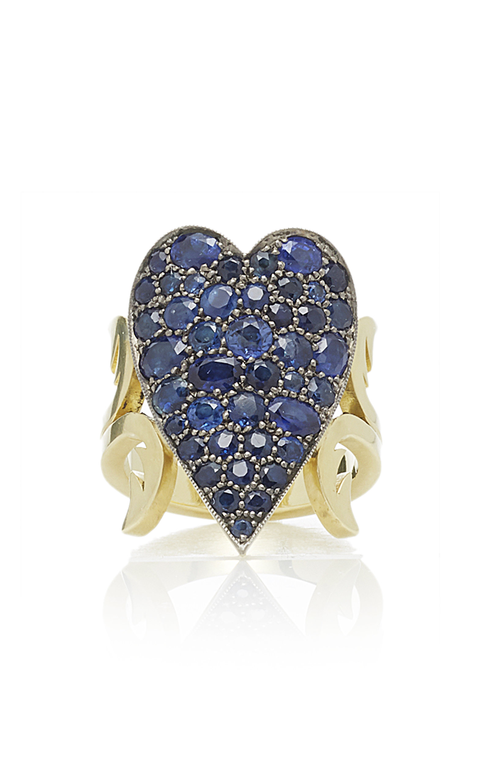 SAPPHIRE HEART TEN TABLE RING