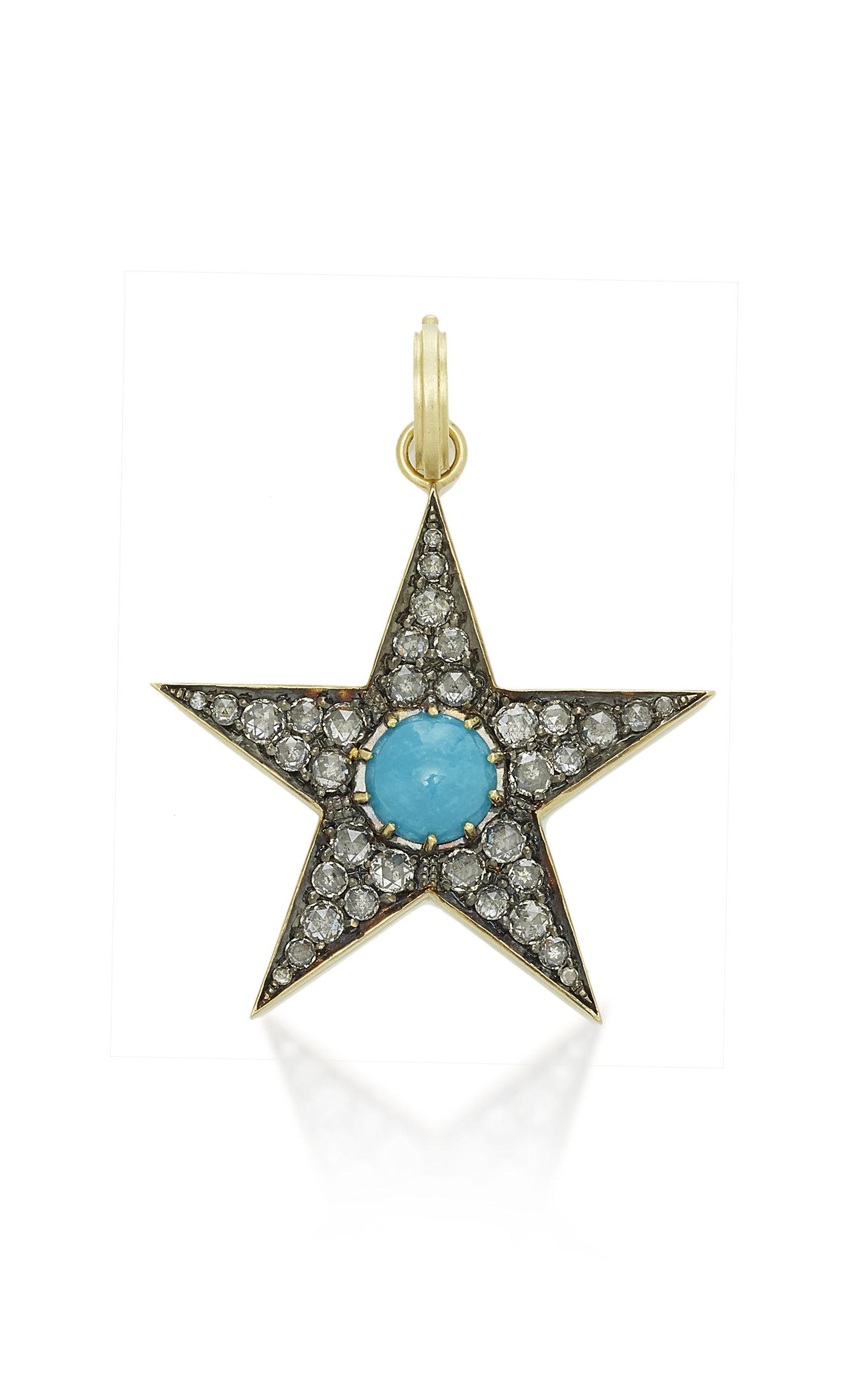 SYLVA & CIE LARGE TURQUOISE AND DIAMOND STAR PENDANT