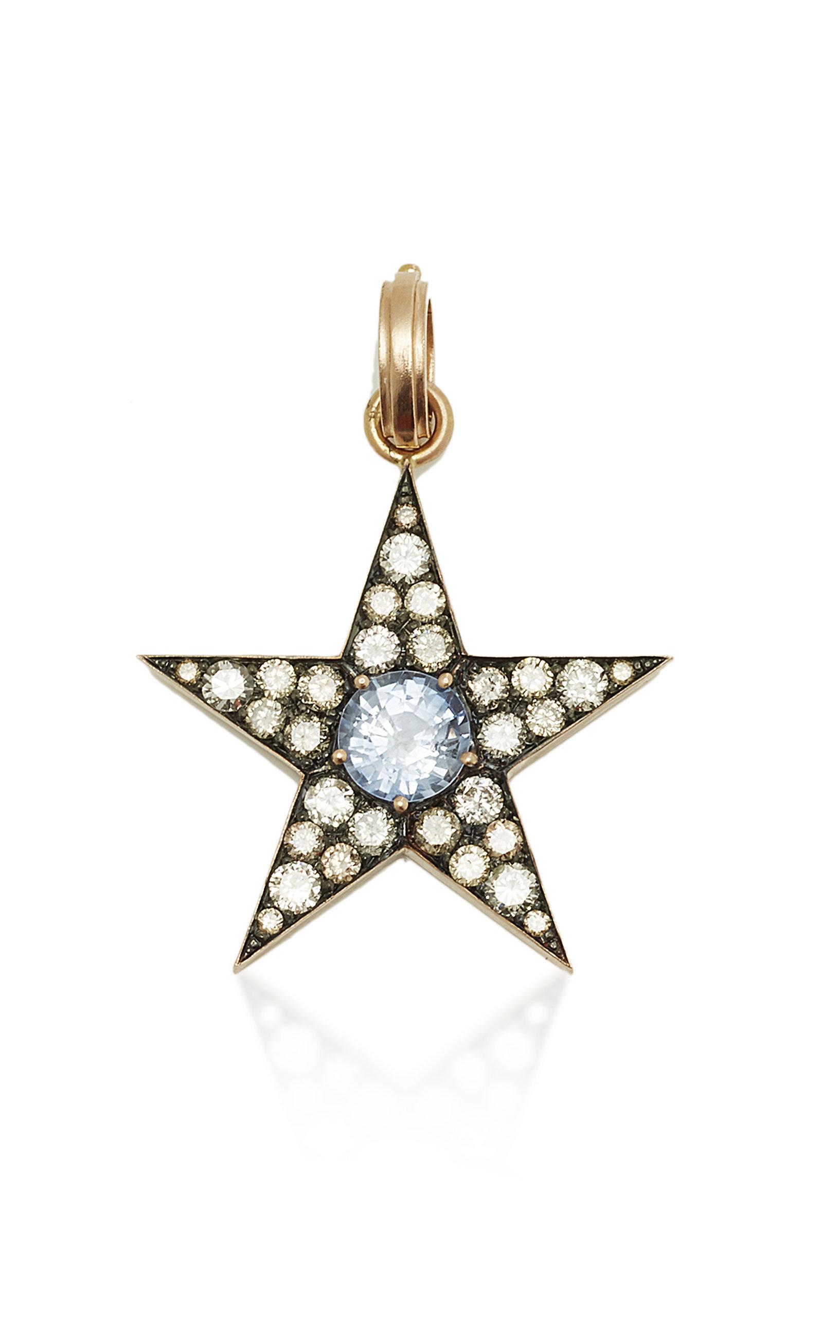 SYLVA & CIE CEYLON SAPPHIRE & DIAMOND STAR PENDANT
