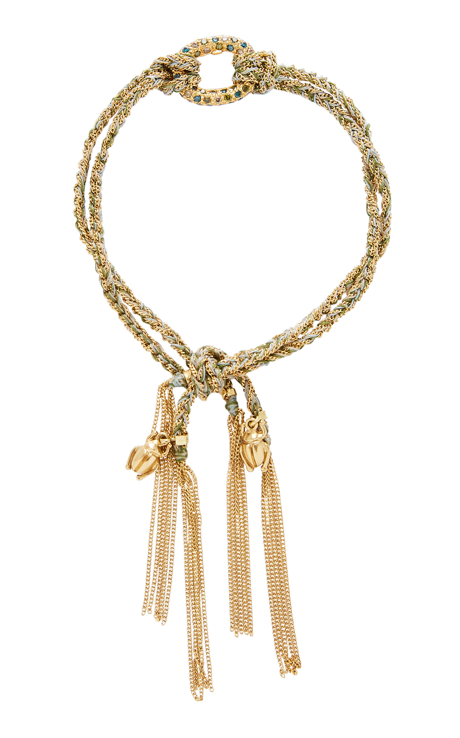 CAROLINA BUCCI LUCKY STRENGTH BRACELET WITH SACRAB CHARMS AND ONE PAVE LINK