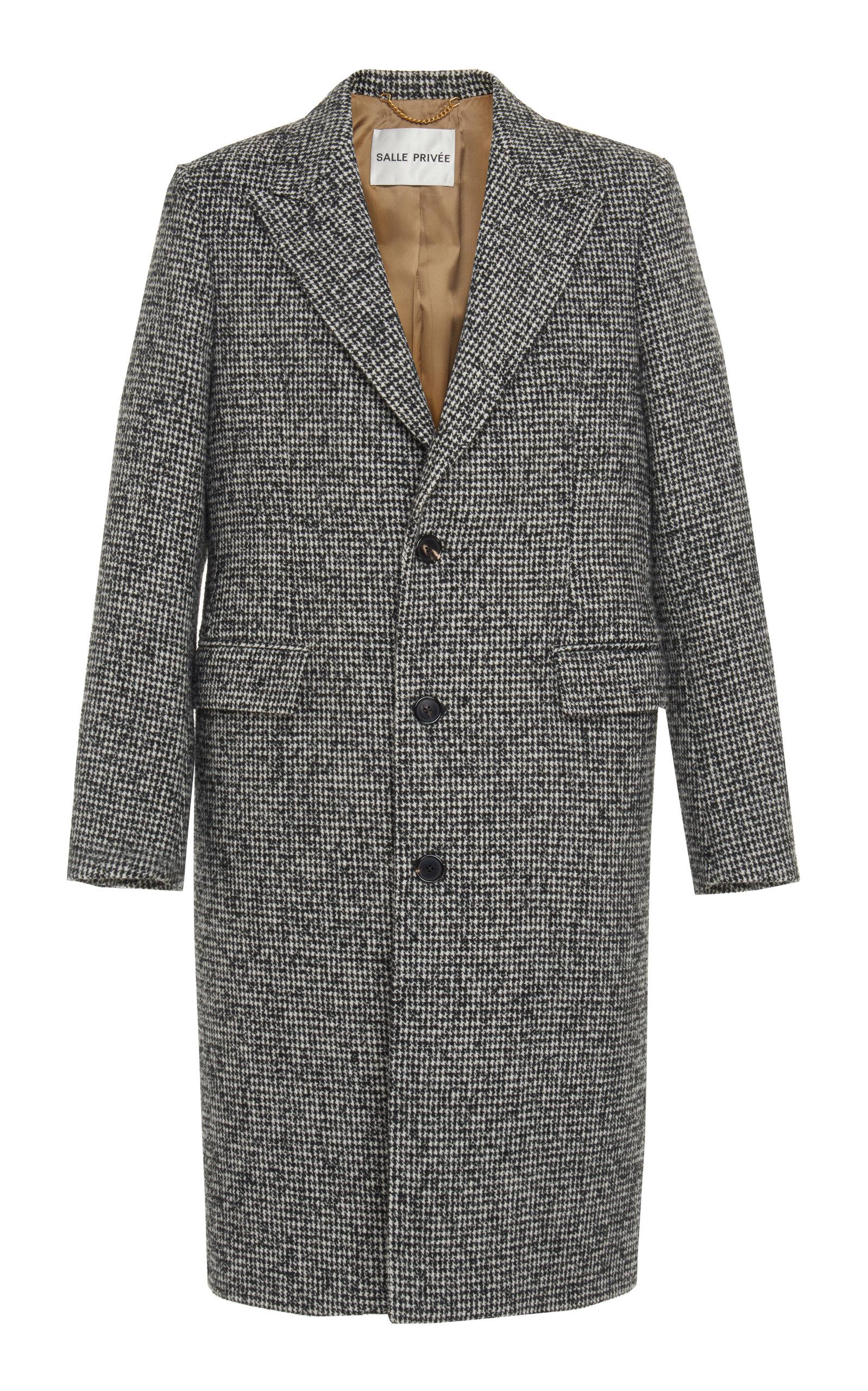 SALLE PRIVÉE Adrian Houndstooth Wool-Blend Overcoat - Gray in Black/White