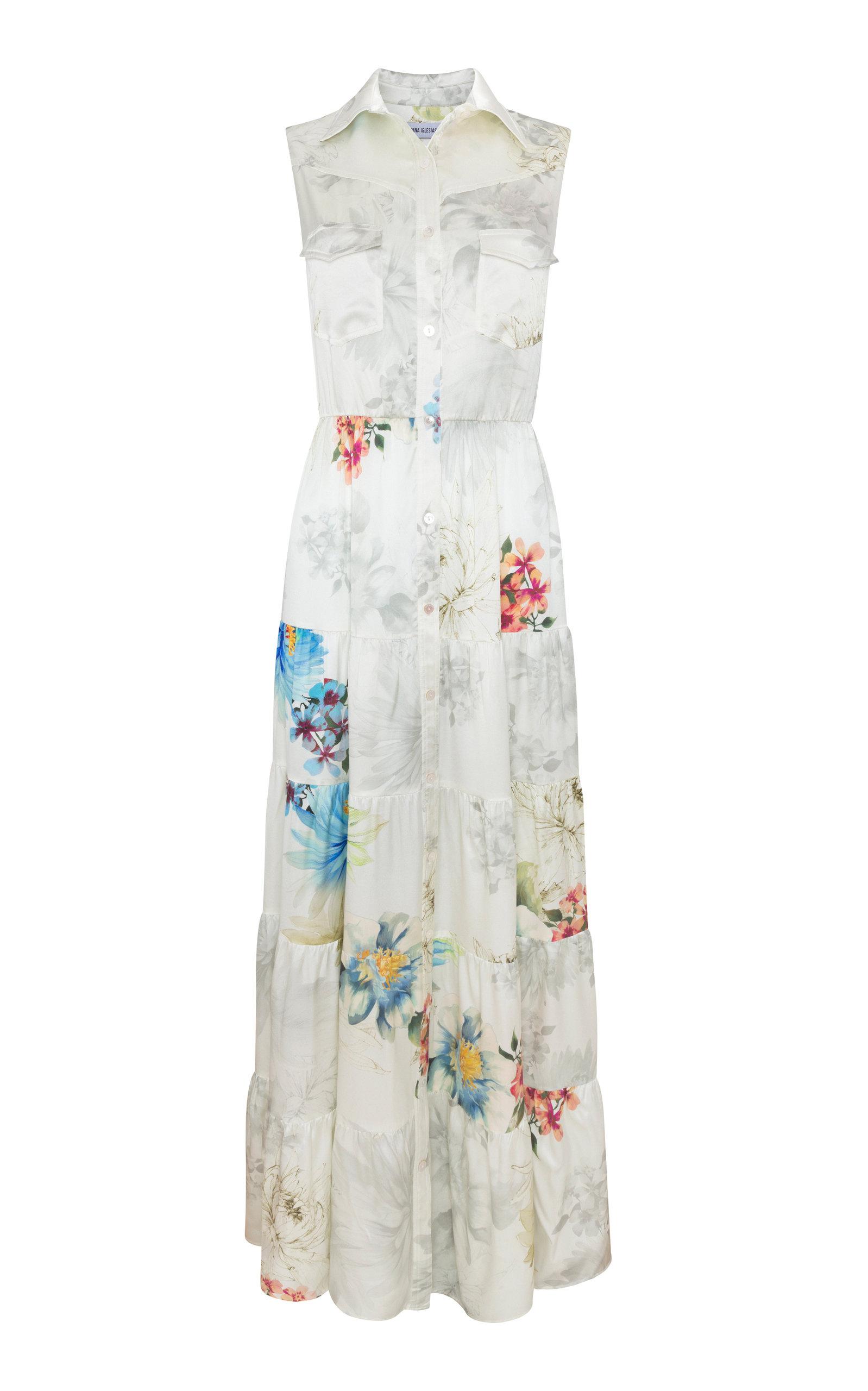 Tucson Floral Silk Satin Dress By Adriana Iglesias Moda Operandi