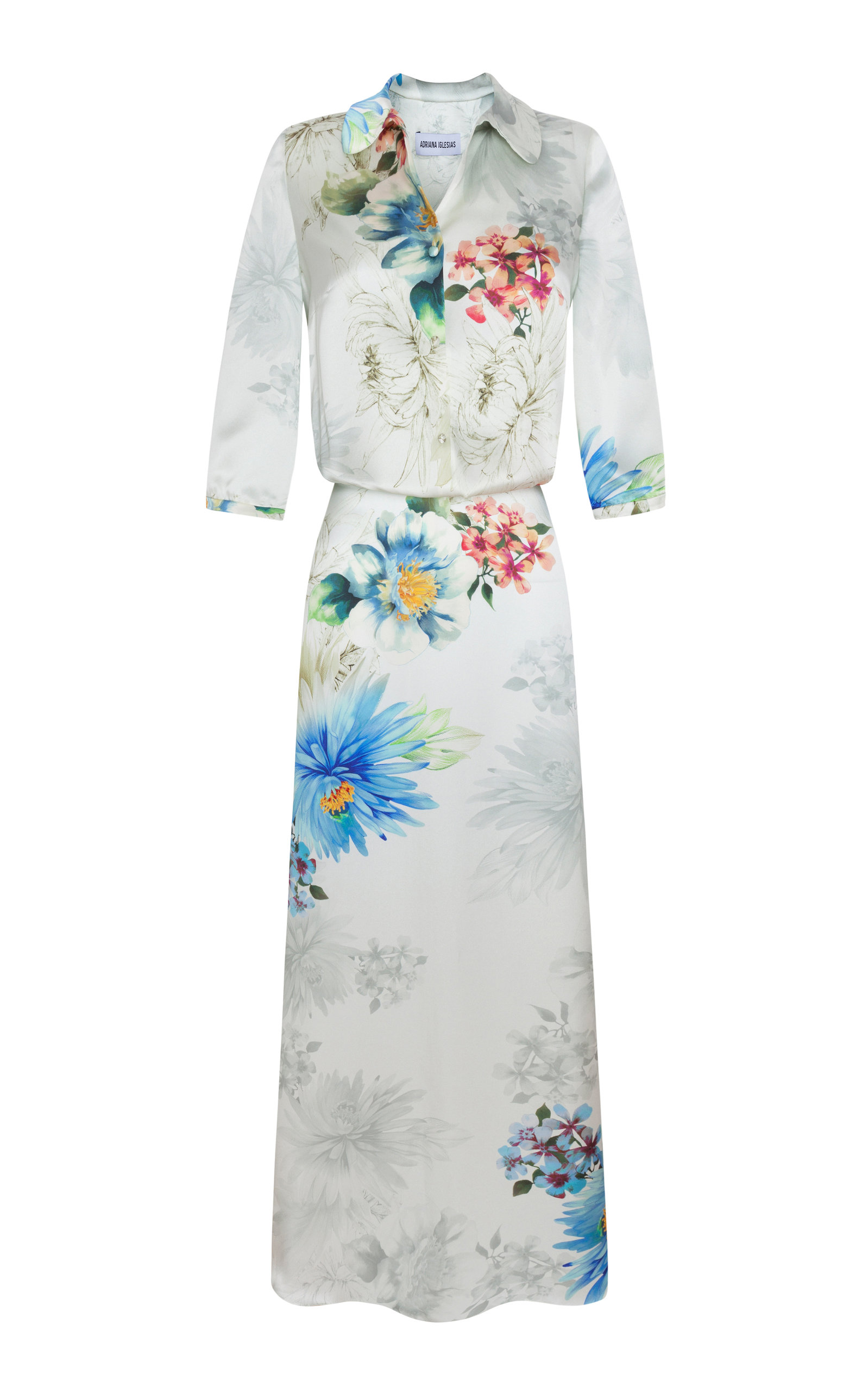 ADRIANA IGLESIAS Paulina Floral Silk Satin Maxi Dress