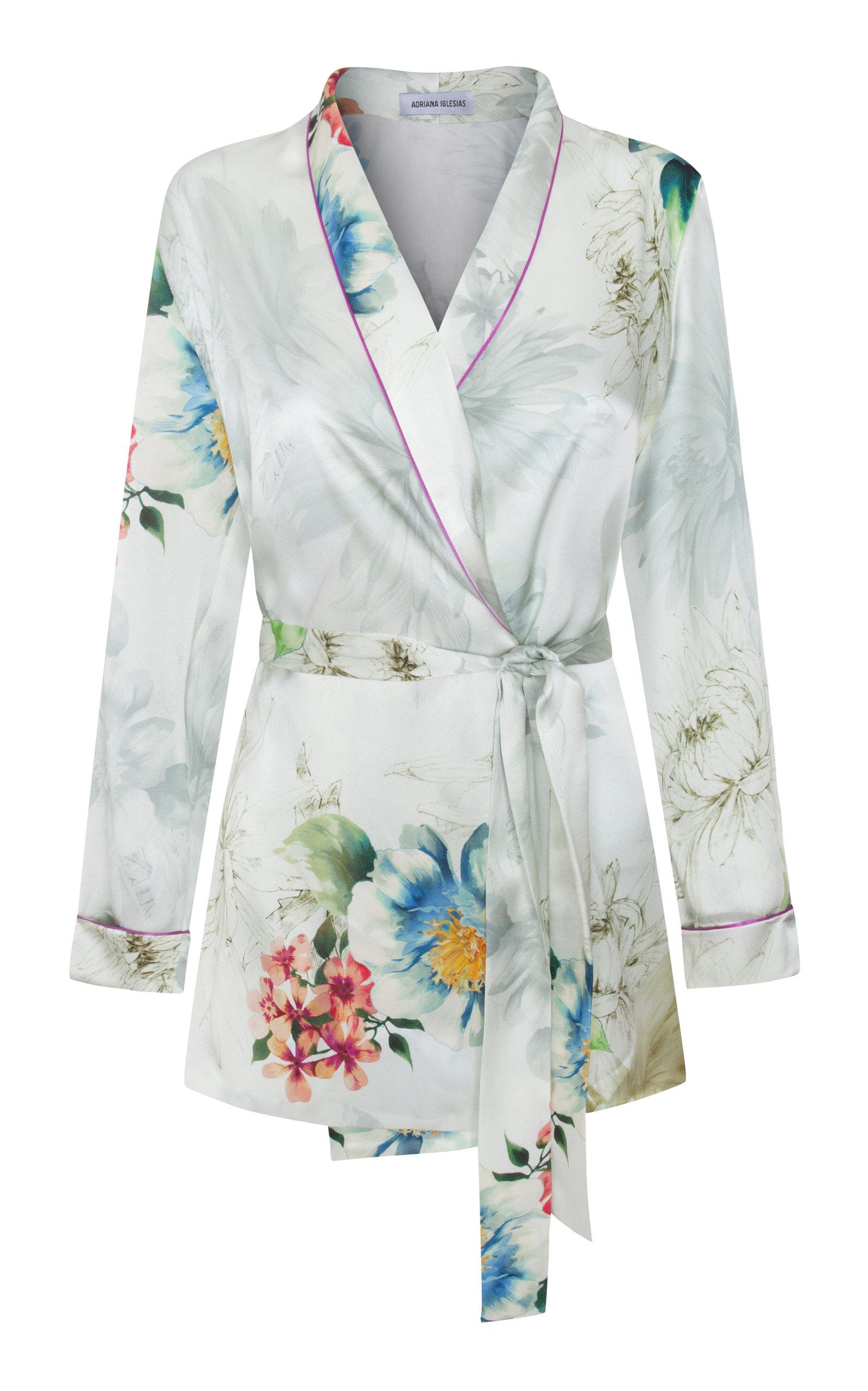 ADRIANA IGLESIAS Waldorf Floral Silk Satin Pajama Top