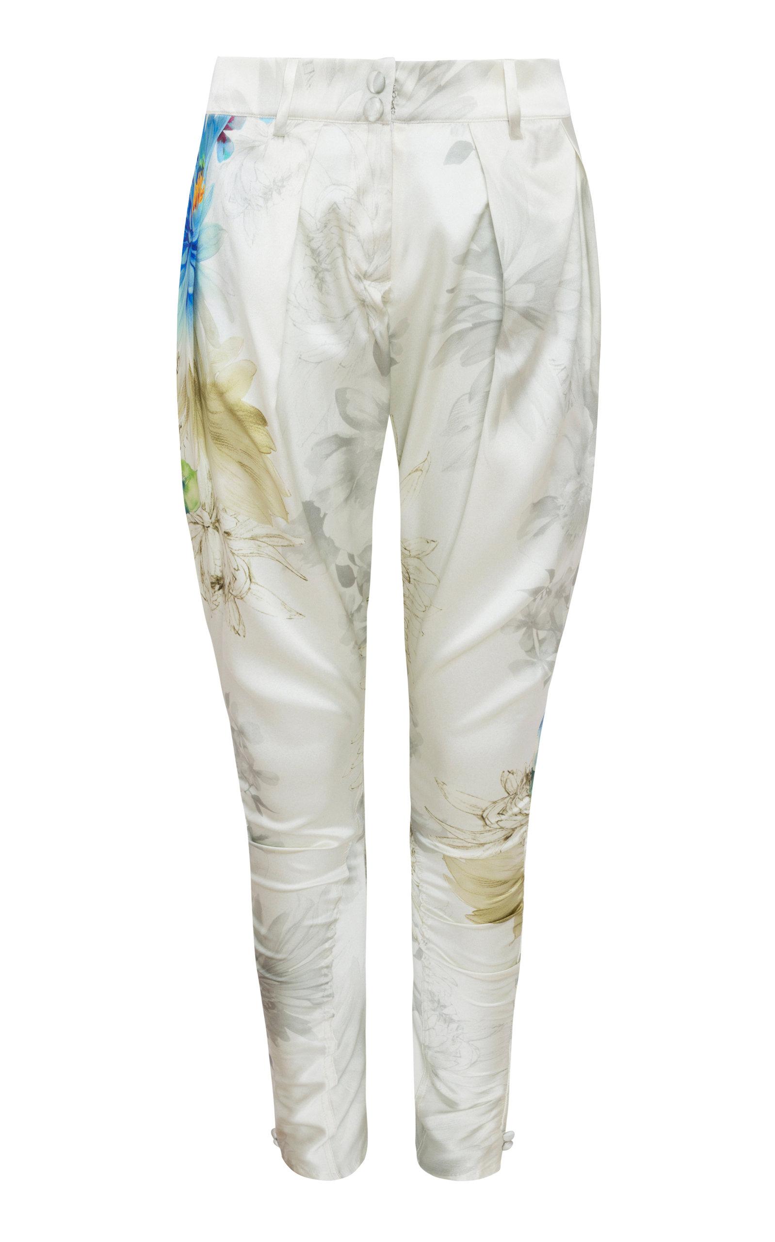 ADRIANA IGLESIAS Hudson Pleated Silk Satin Pants in Floral