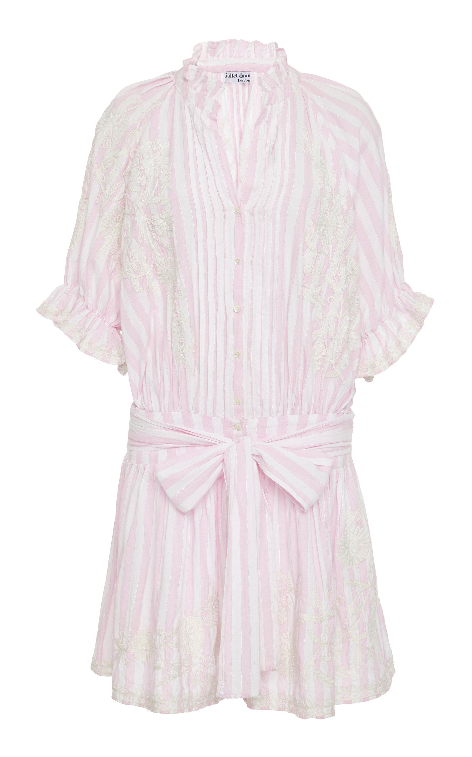 JULIET DUNN STRIPED COTTON BLOUSON DRESS