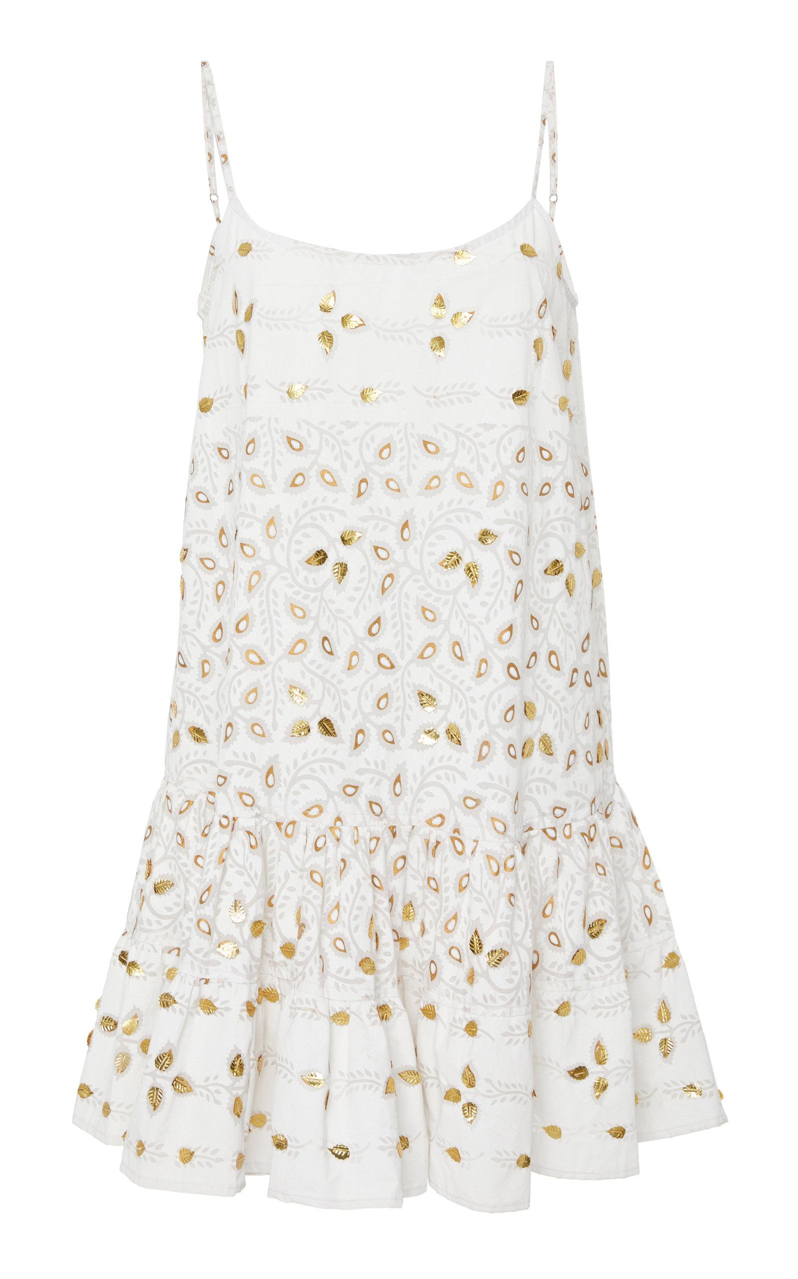JULIET DUNN EMBELLISHED COTTON CAMISOLE DRESS