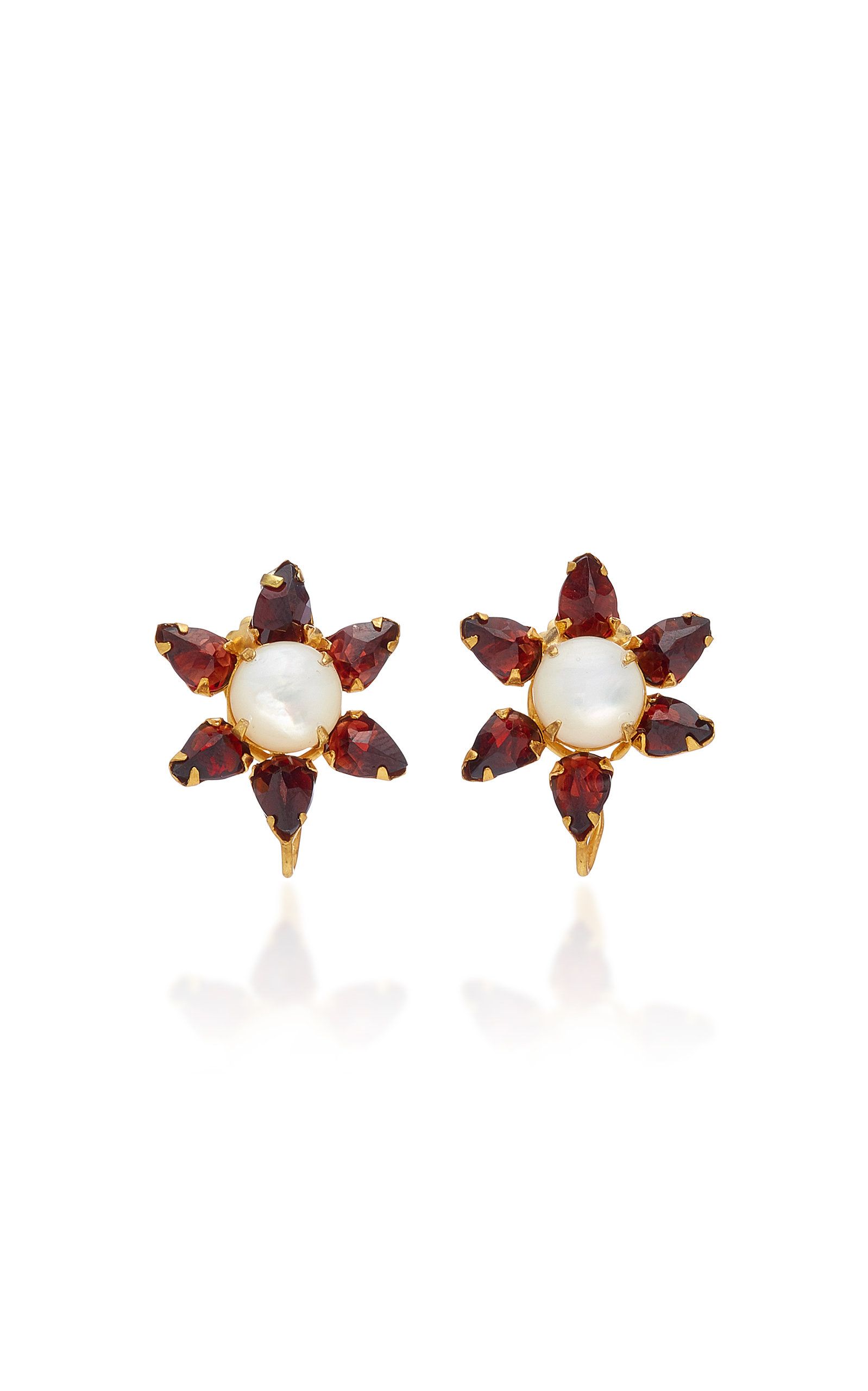 1bcdafdbd 14K Gold-Plated Garnet and Mother of Pearl Earrings by Bounkit ...