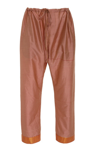 BODE | BODE Micro Check Silk Drawstring Pants | Goxip