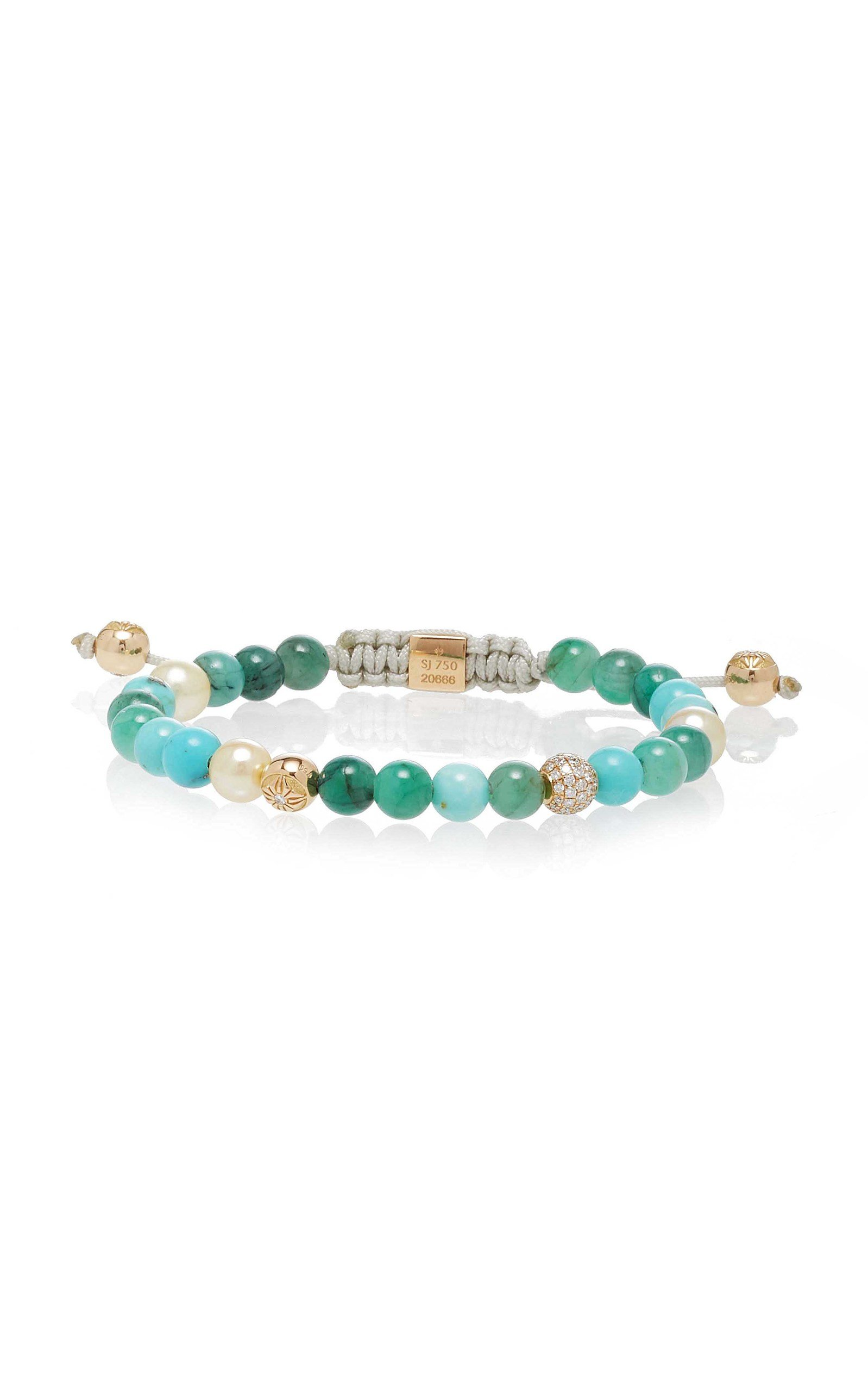 SHAMBALLA JEWELS NON-BRAIDED EMERALD AND TURQUOISE BRACELET