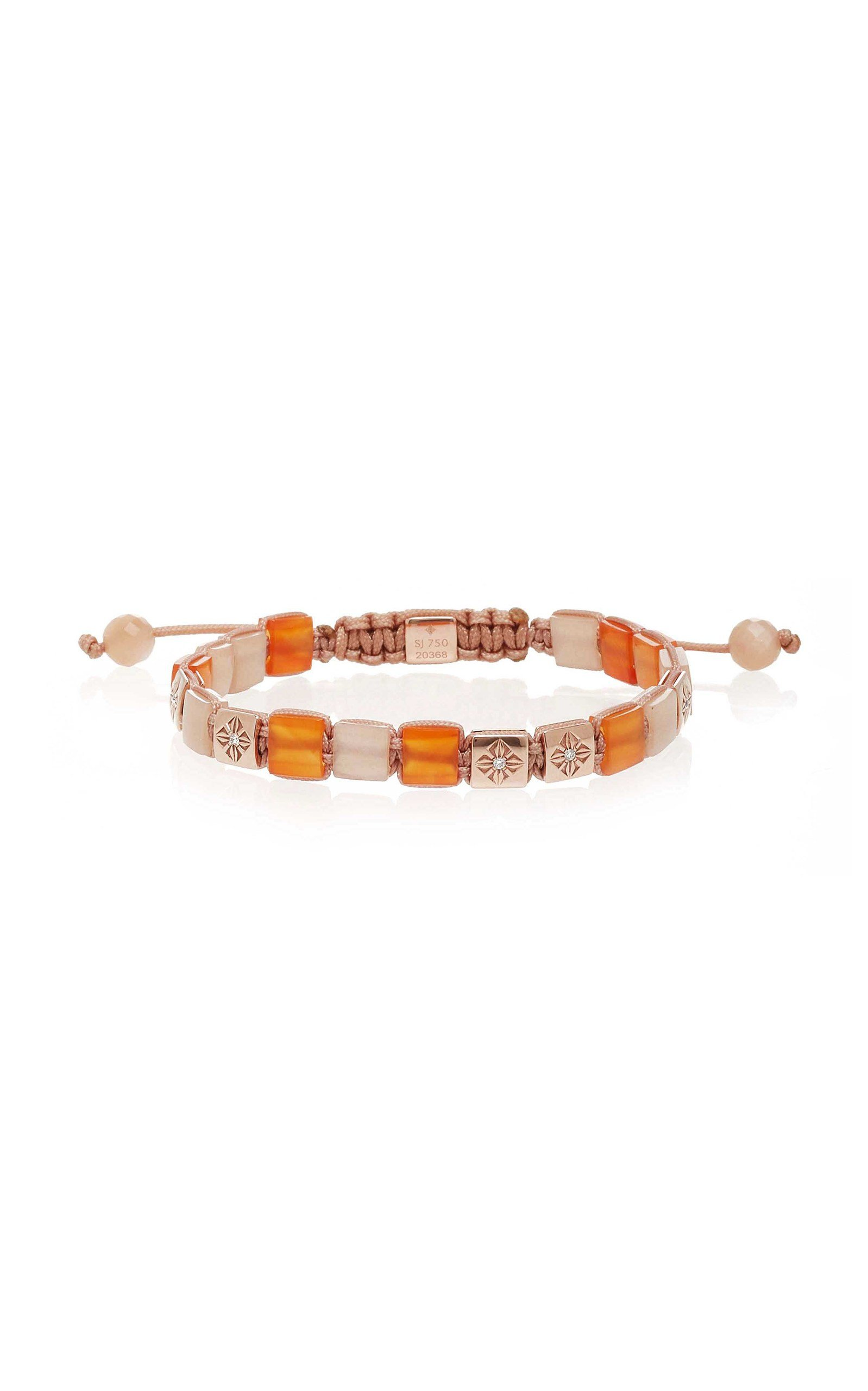 SHAMBALLA JEWELS 6MM LOCK CARNELIAN BRACELET