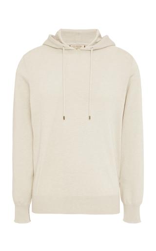 FIORONI | Fioroni Rib-Trimmed Cotton and Wool-Blend Hooded Sweatshirt | Goxip