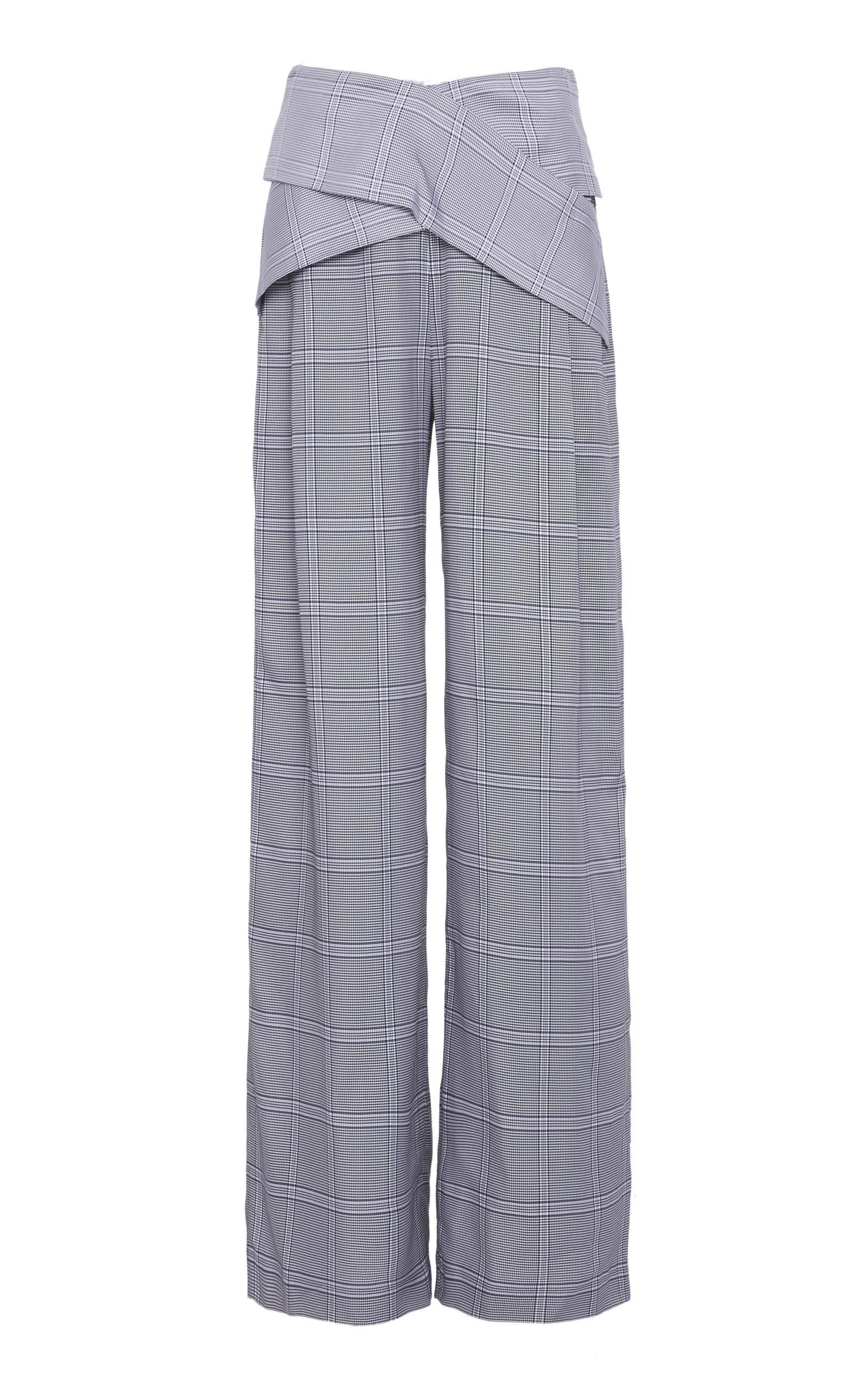 DION LEE WIDE-LEG CHECK PANTS