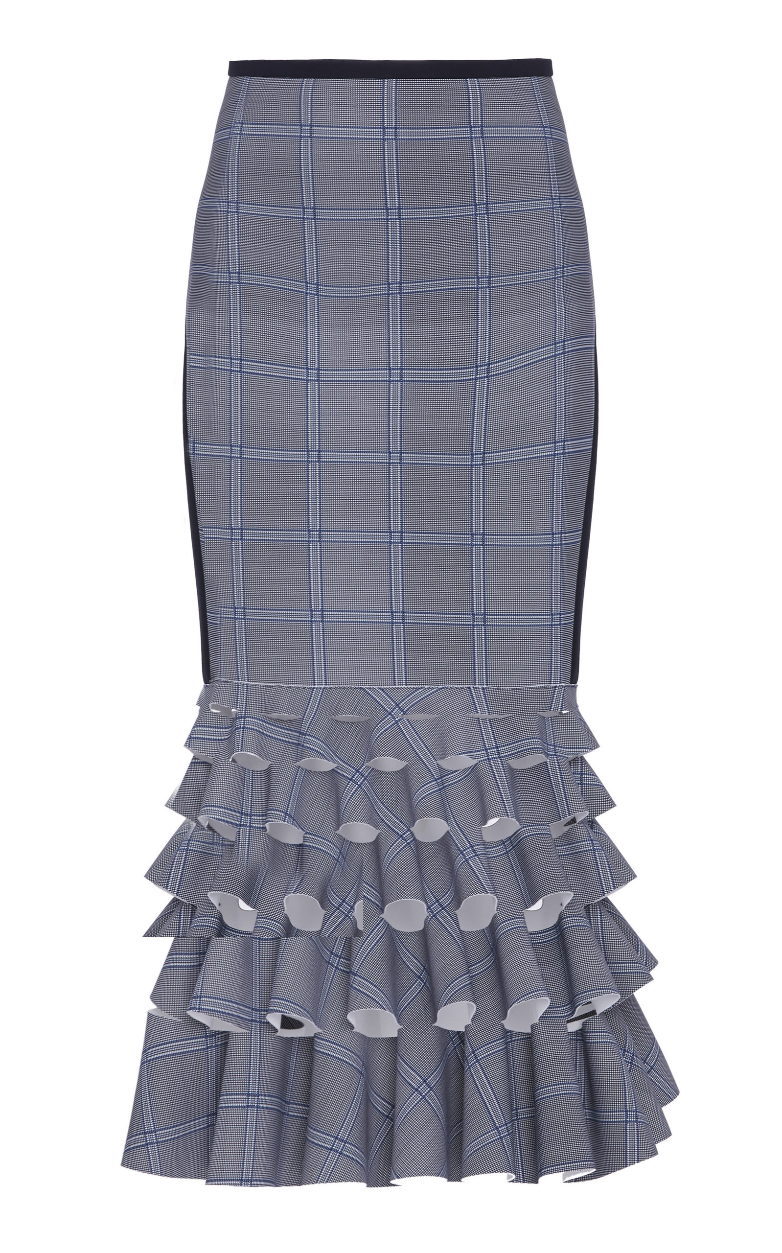 DION LEE CHECK PATTERN RUFFLE SKIRT