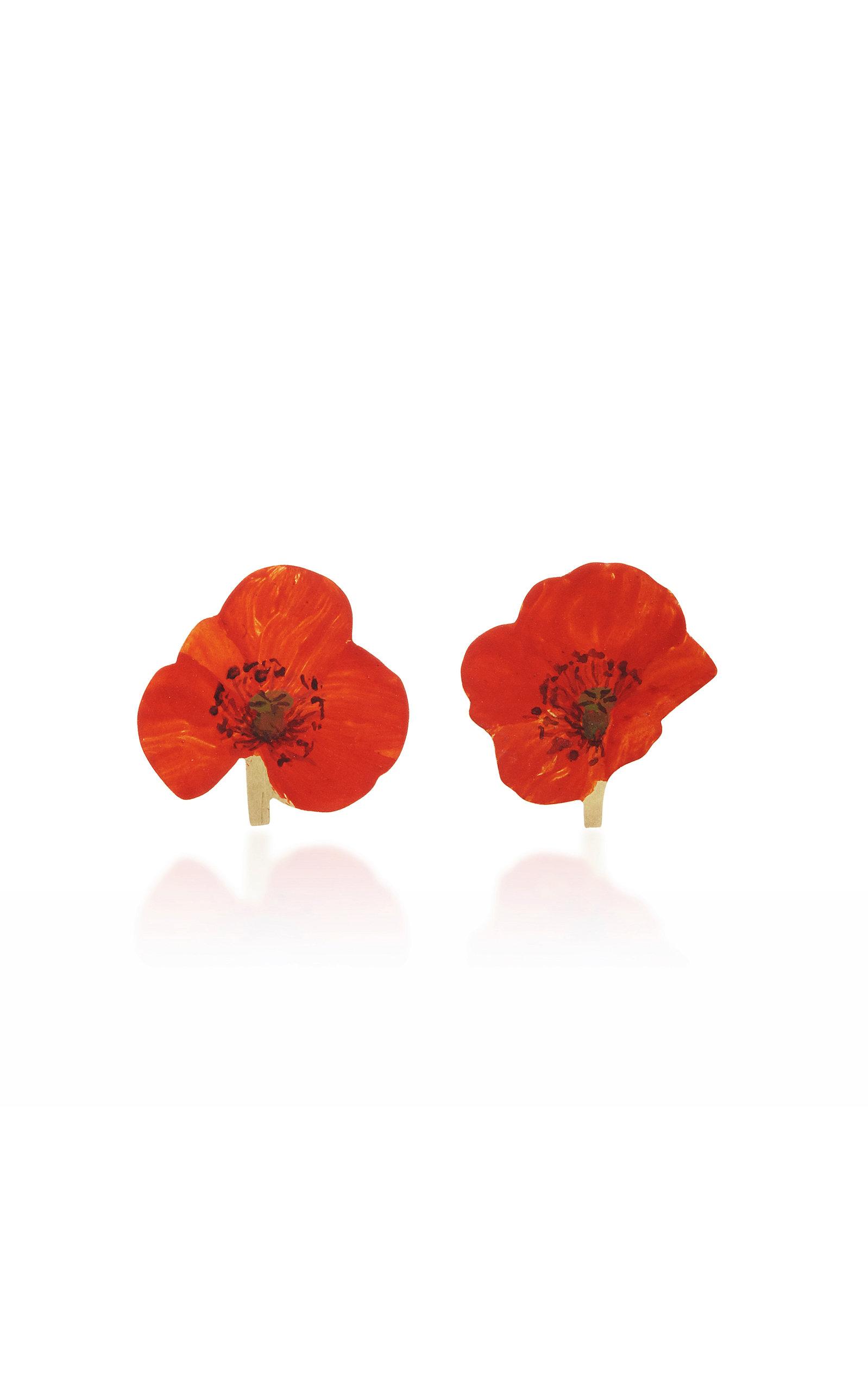 CHRISTOPHER THOMPSON ROYDS Poppy Stud Earrings in Red