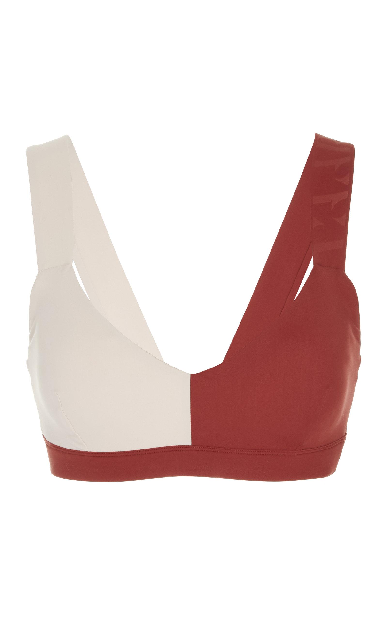 VAARA Elsa Two-Tone Stretch-Knit Sports Bra in Red