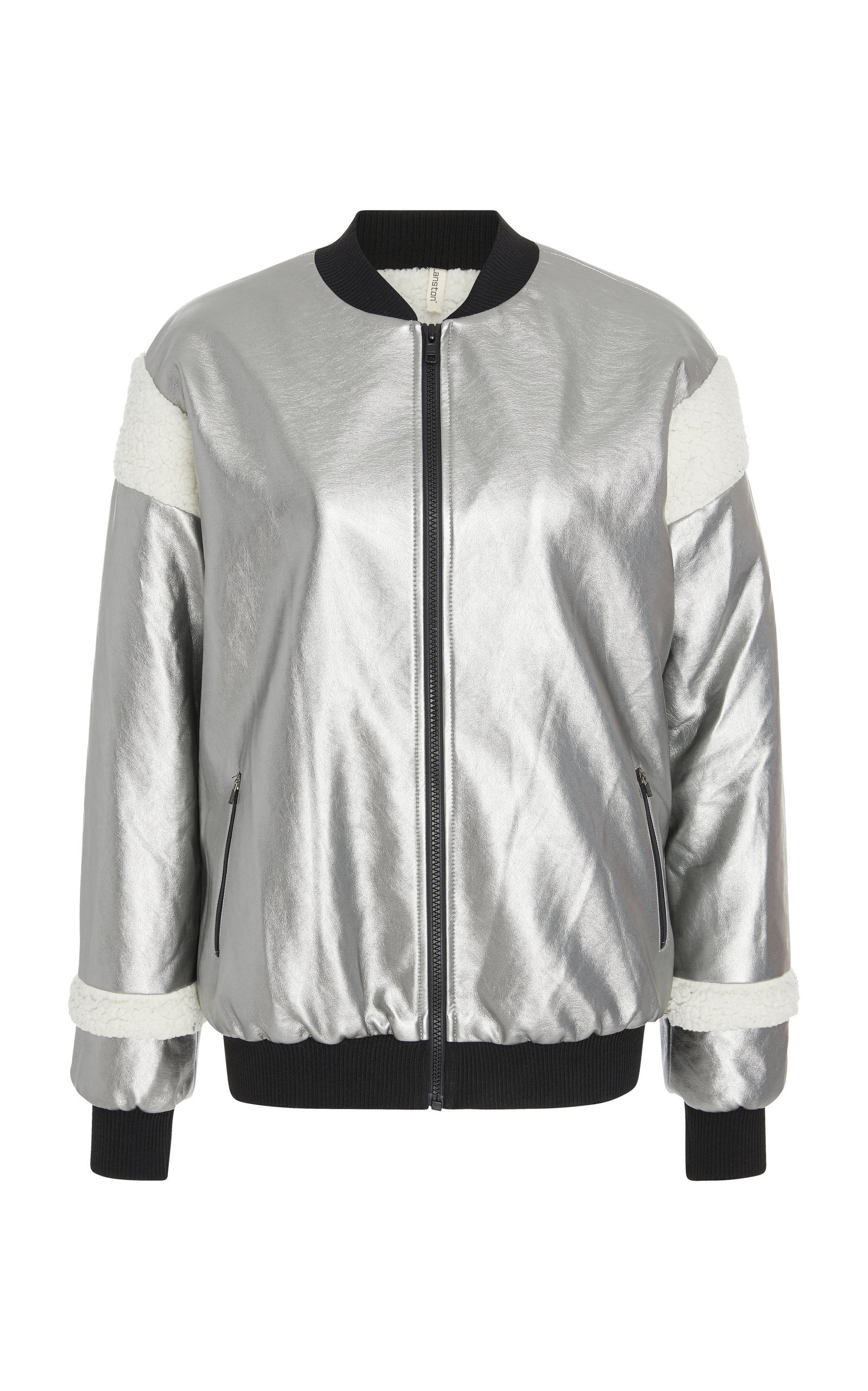 LANSTON PANELED METALLIC BOMBER JACKET