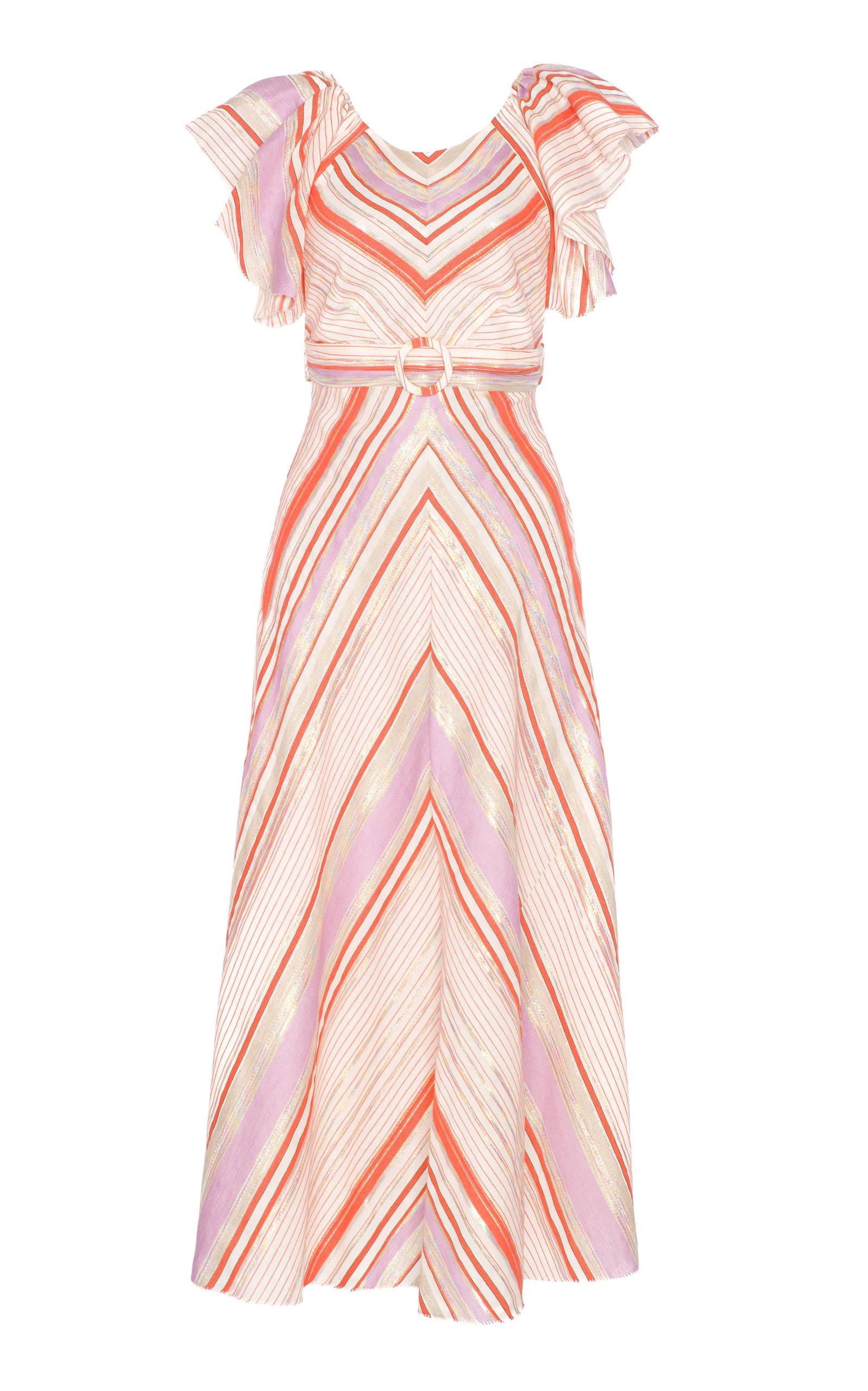 MARIA LUCIA HOHAN YULIA STRIPE LUREX LINEN DRESS
