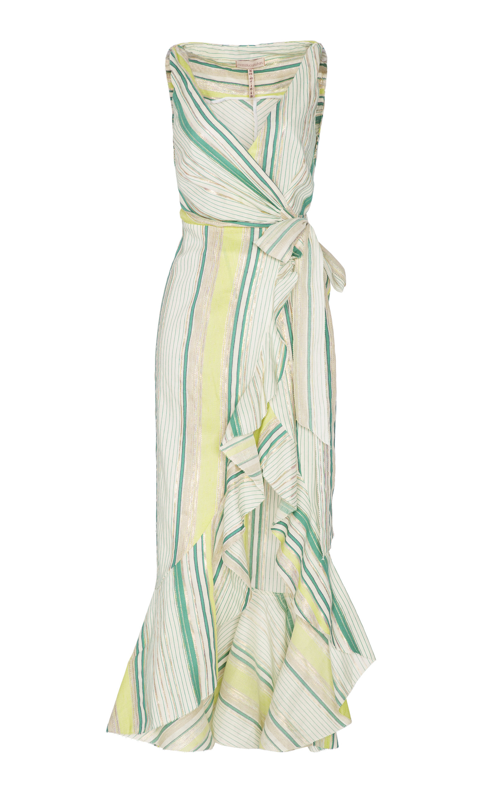 MARIA LUCIA HOHAN STELLA STRIPE LUREX LINEN WRAP DRESS
