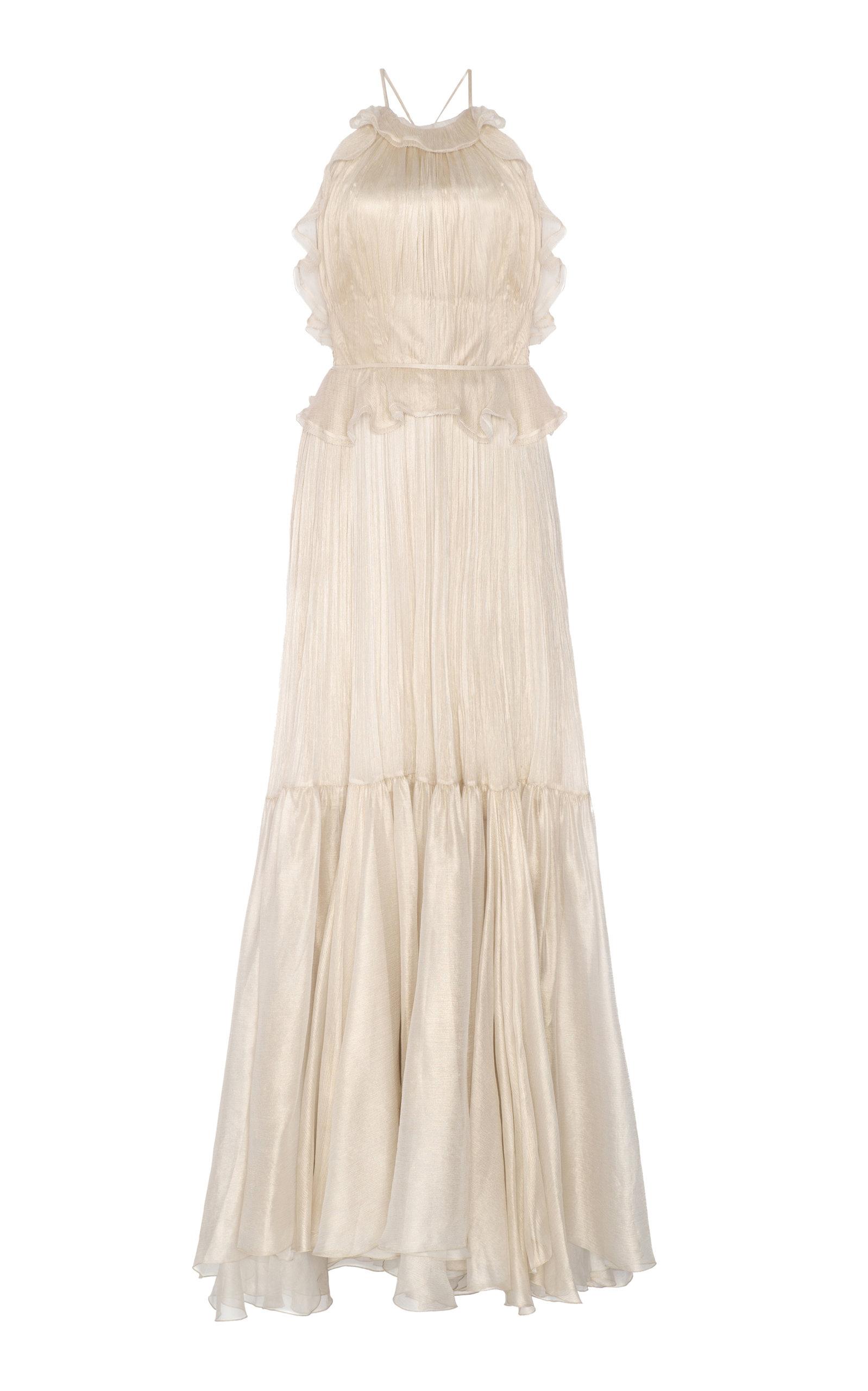 MARIA LUCIA HOHAN PEARL METALLIC MOUSSELINE DRESS