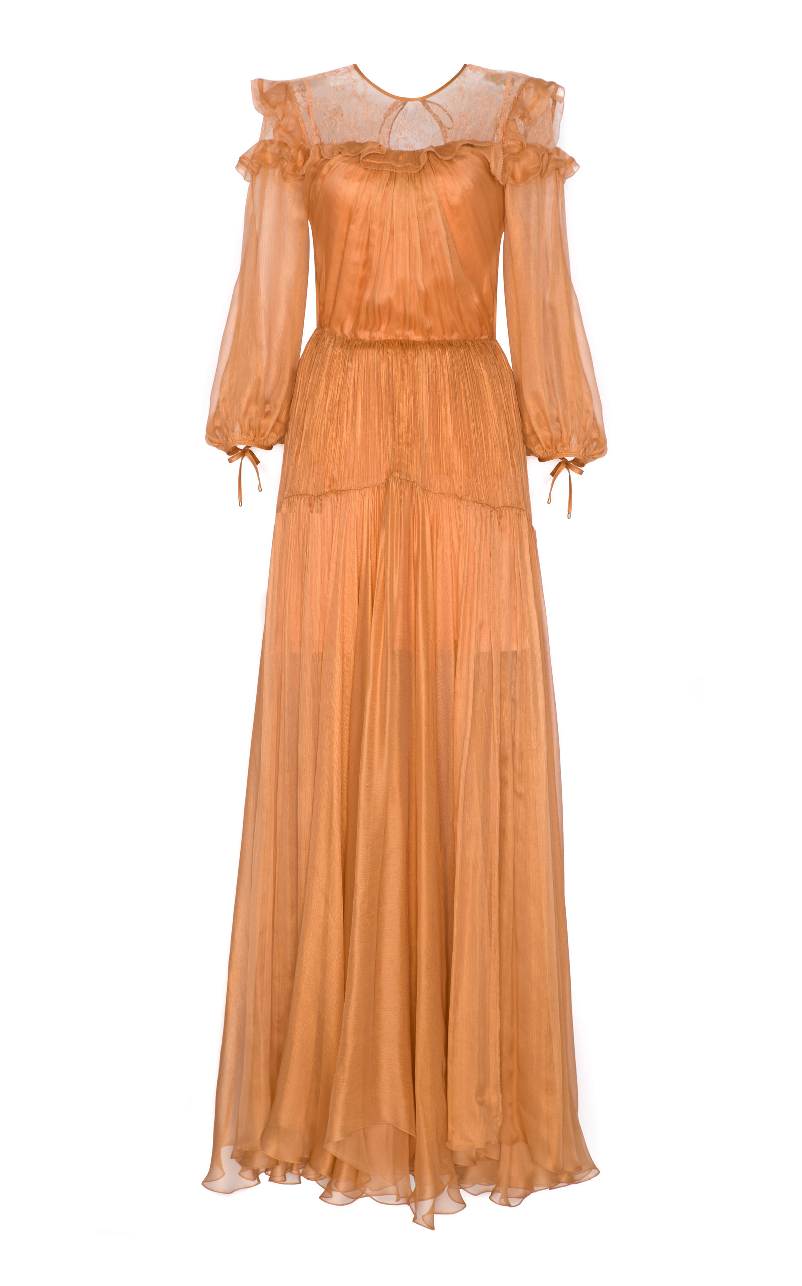 MARIA LUCIA HOHAN ZAYLEY METALLIC MOUSSELINE GOWN
