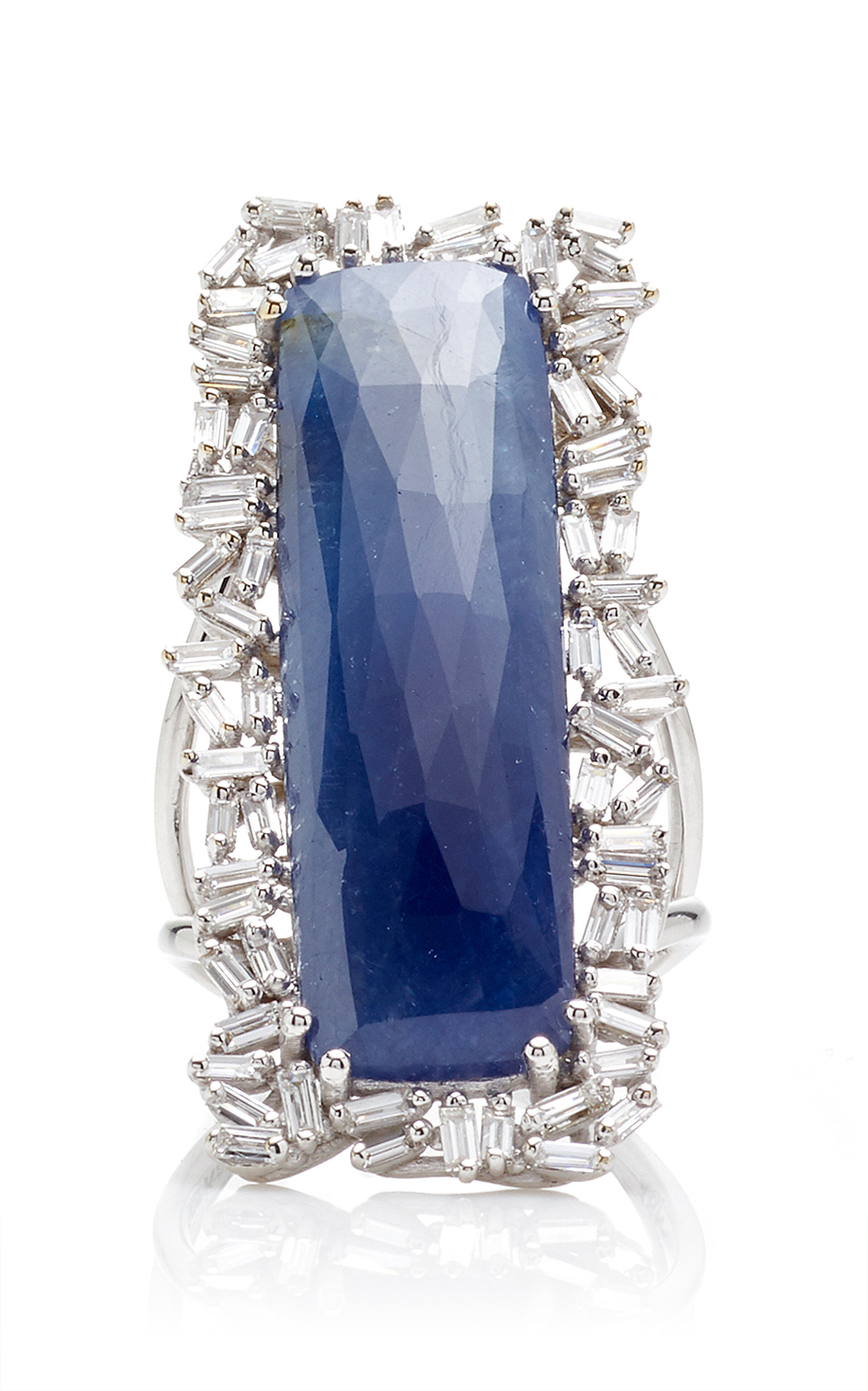 SUZANNE KALAN ONE-OF-A-KIND SAPPHIRE RING WITH DIAMOND BAGUETTES