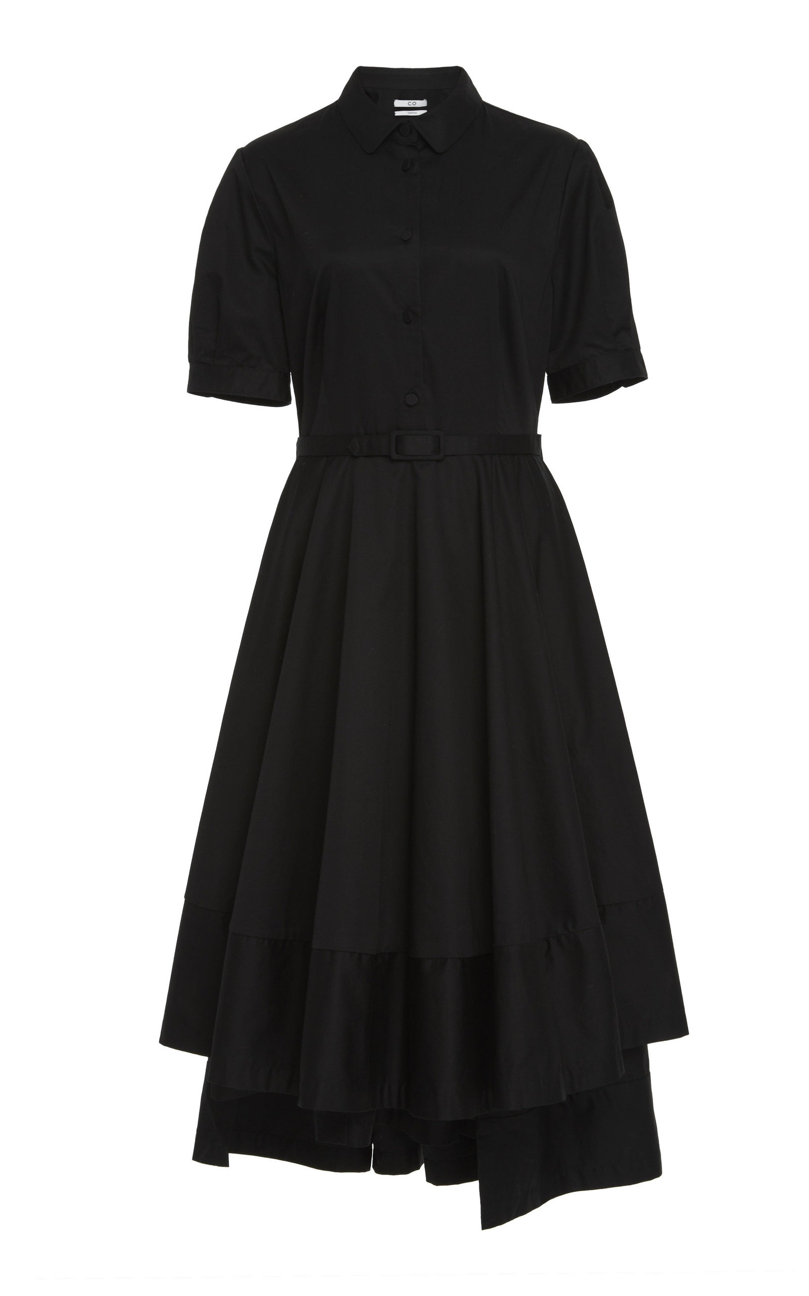 BELTED SATEEN DRESS