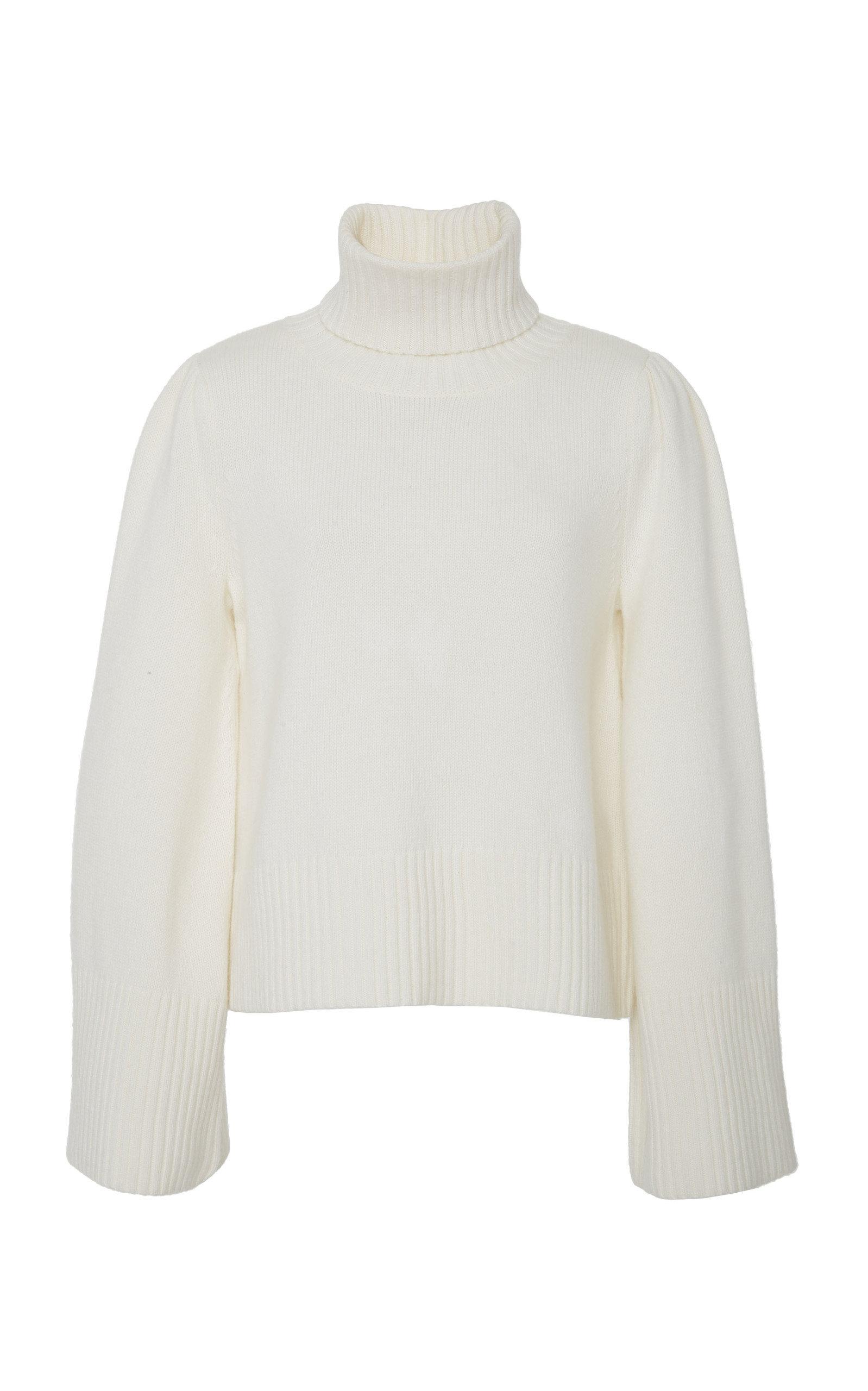 Essentials Flare Sleeve Wool & Cashmere Turtleneck Sweater in White