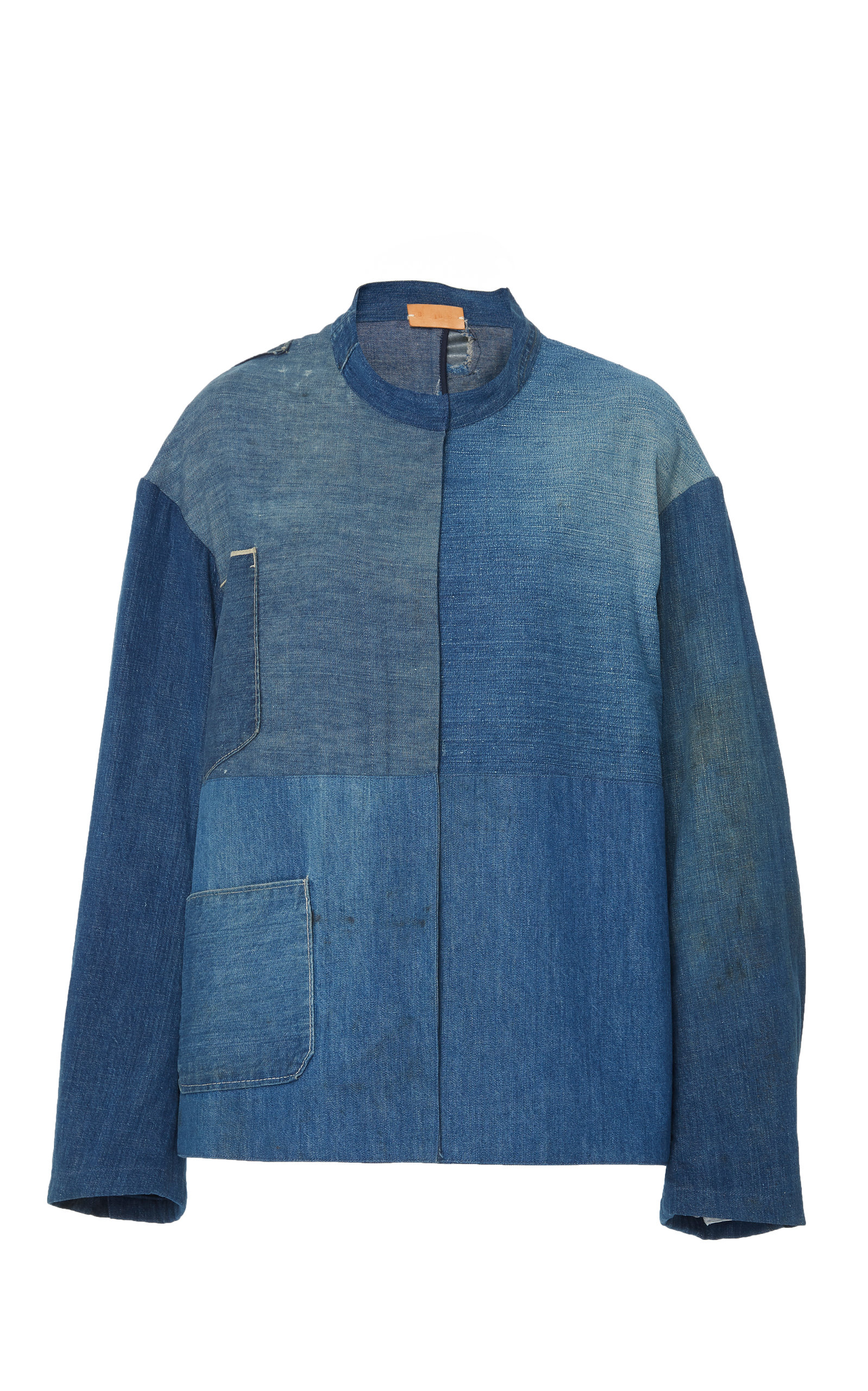 B SIDES Exclusive Patchwork Denim Apron Jacket in Blue