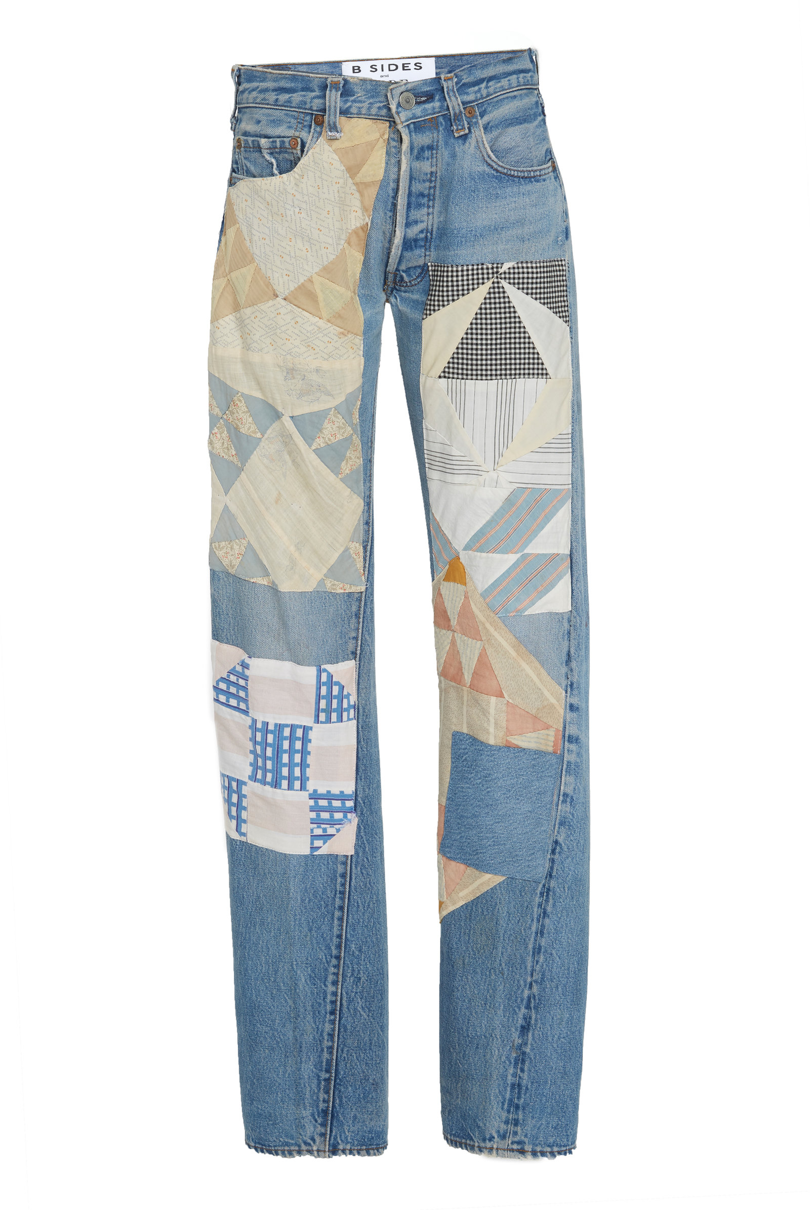 B SIDES Exclusive Mid-Rise Patchwork Straight-Leg Jeans in Light Wash