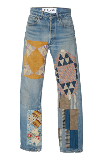 4329f06f6df6 B SIDESExclusive Mid-Rise Patchwork-Effect Straight-Leg Jeans