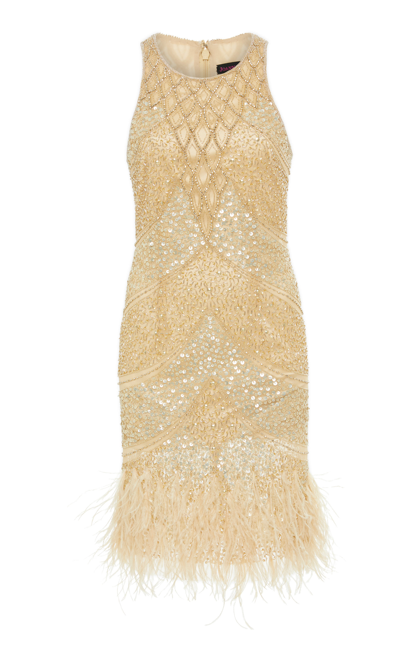 JOANNA MASTROIANNI RACER EMBROIDERED DRESS WITH FEATHERS AT HEM