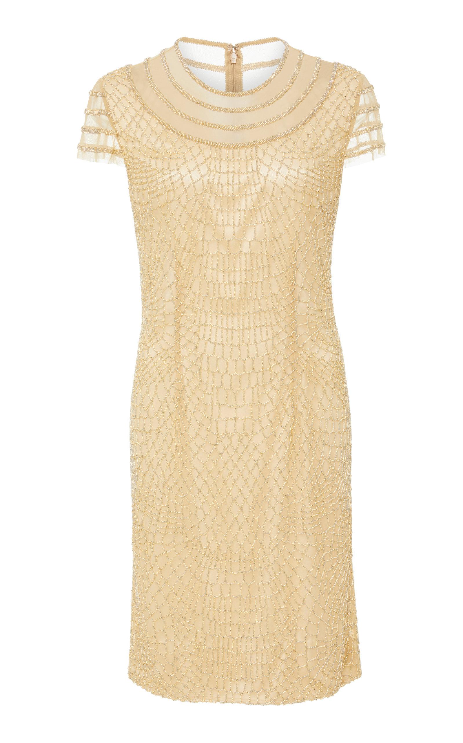 JOANNA MASTROIANNI GOLD WEB EMBROIDERED DRESS