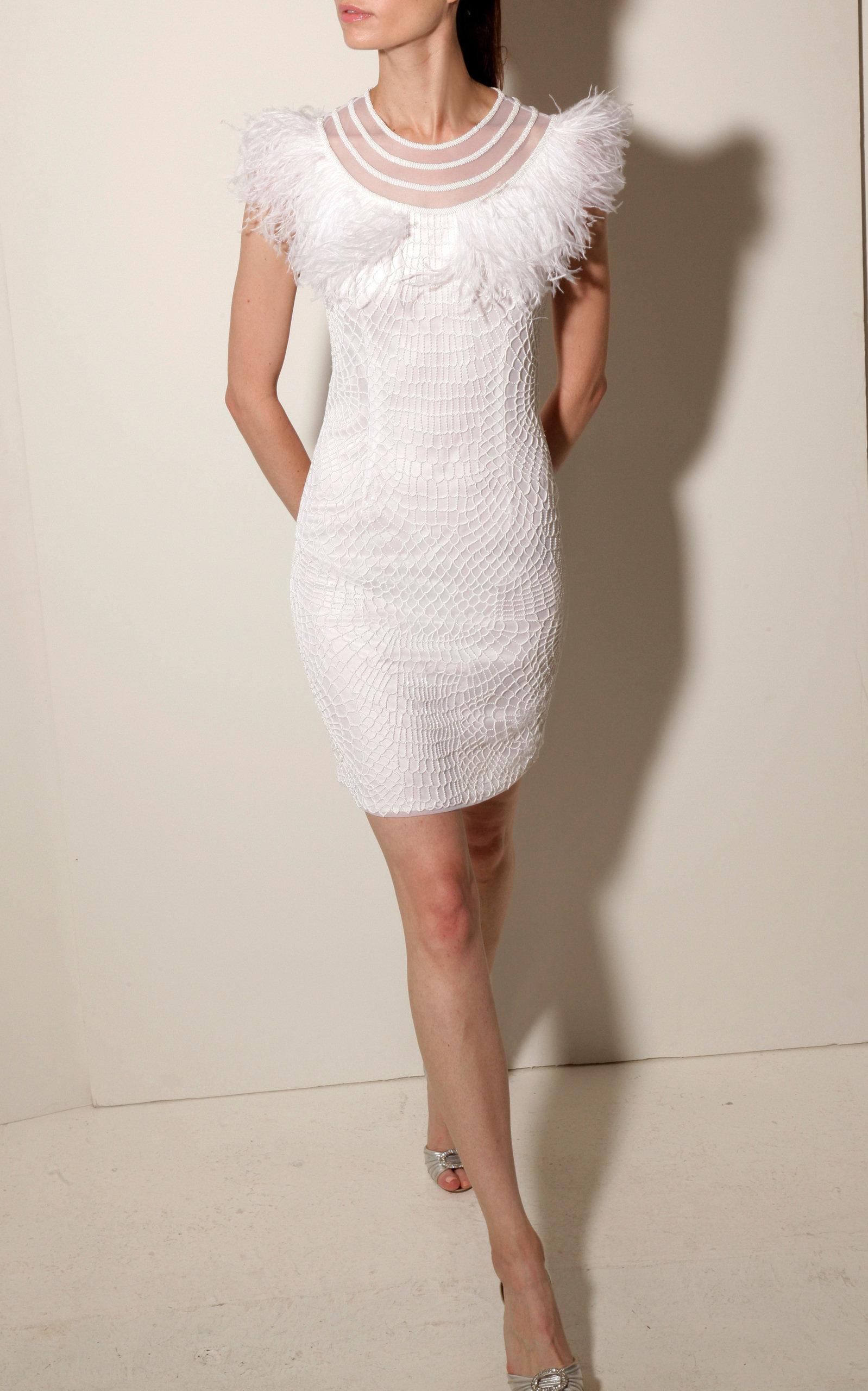 JOANNA MASTROIANNI Illusion Neck Mini Dress in White