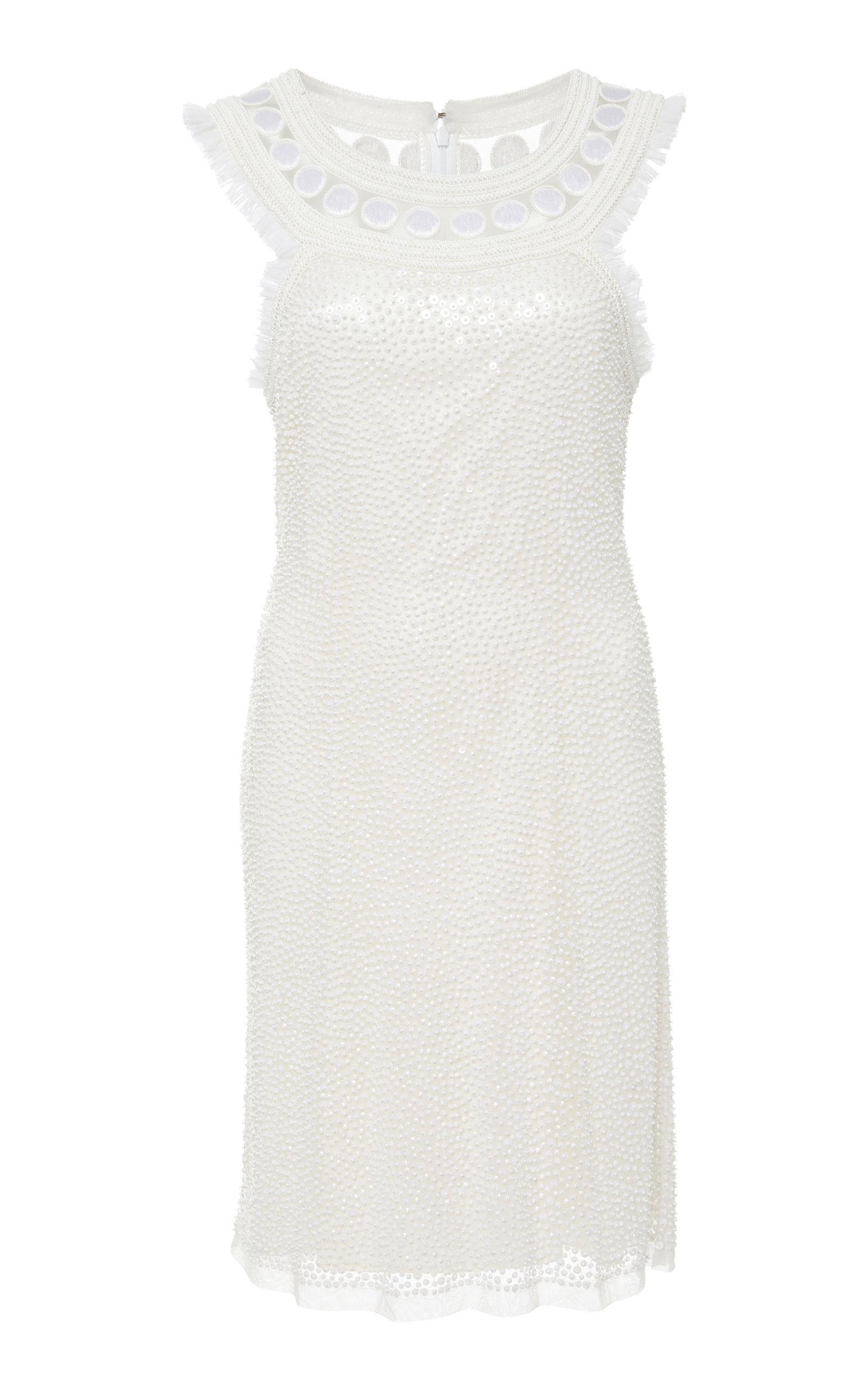 JOANNA MASTROIANNI YOKE EMBROIDERED SHEATH DRESS