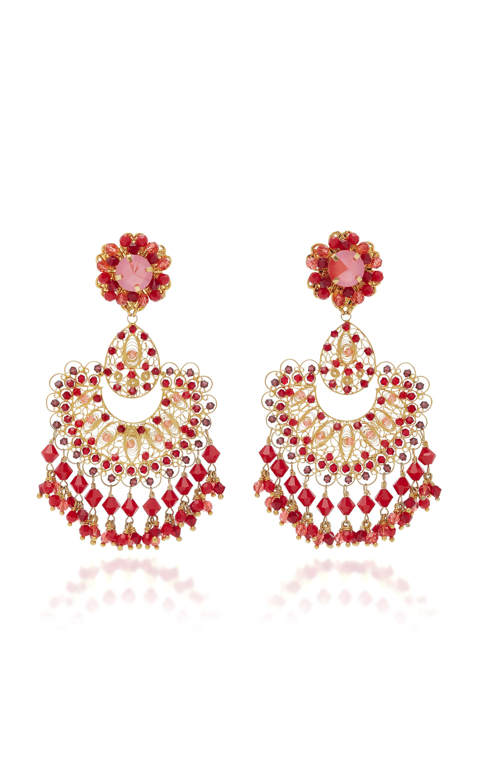RED CORAL FILIGREE EARRING