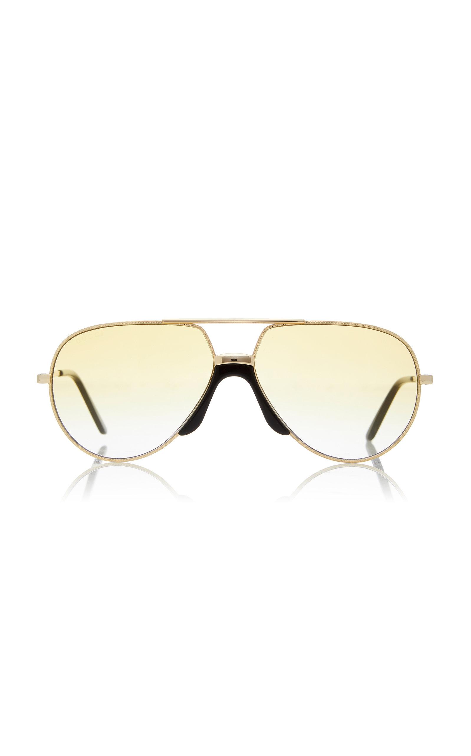 1be4338fadd8 Oversized Metal Aviator Sunglasses by Gucci Sunglasses   Moda Operandi