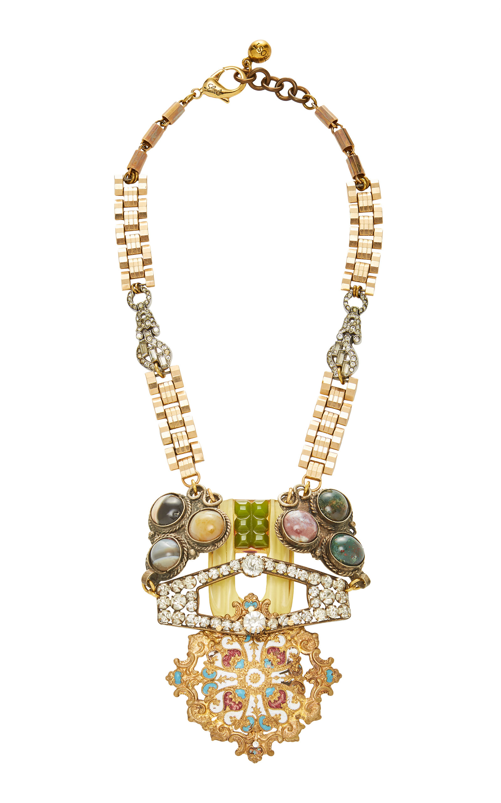 LULU FROST ONE-OF-A-KIND POT METAL AND CRYSTAL LINK NECKLACE