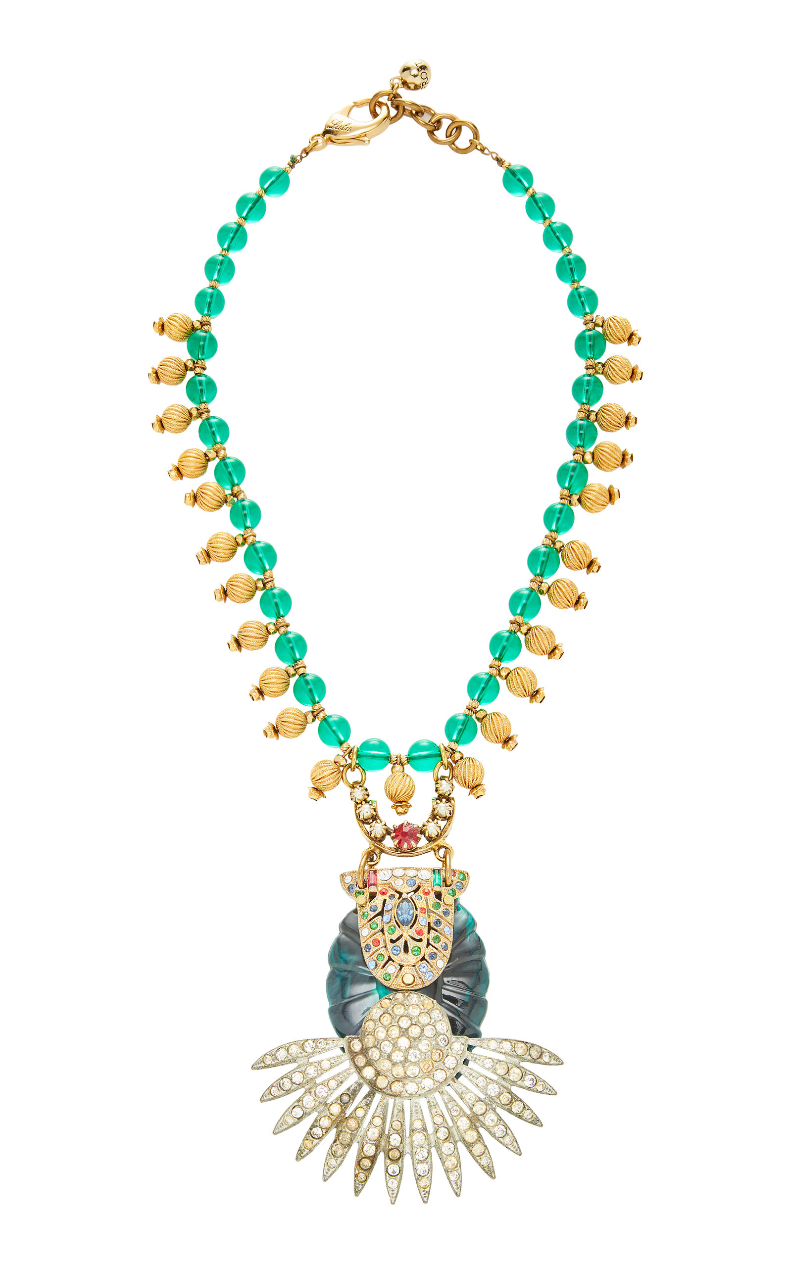 LULU FROST ONE-OF-A-KIND EMERALD GLASS NECKLACE