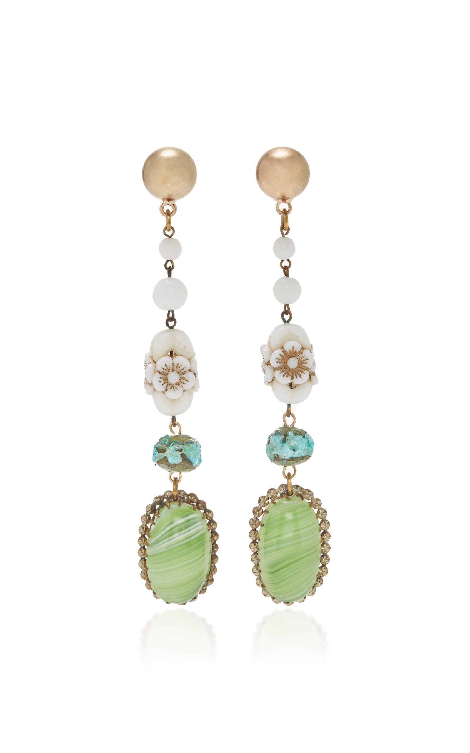 LULU FROST ONE-OF-A-KIND GLASS FLORAL BEAD DROP EARRING